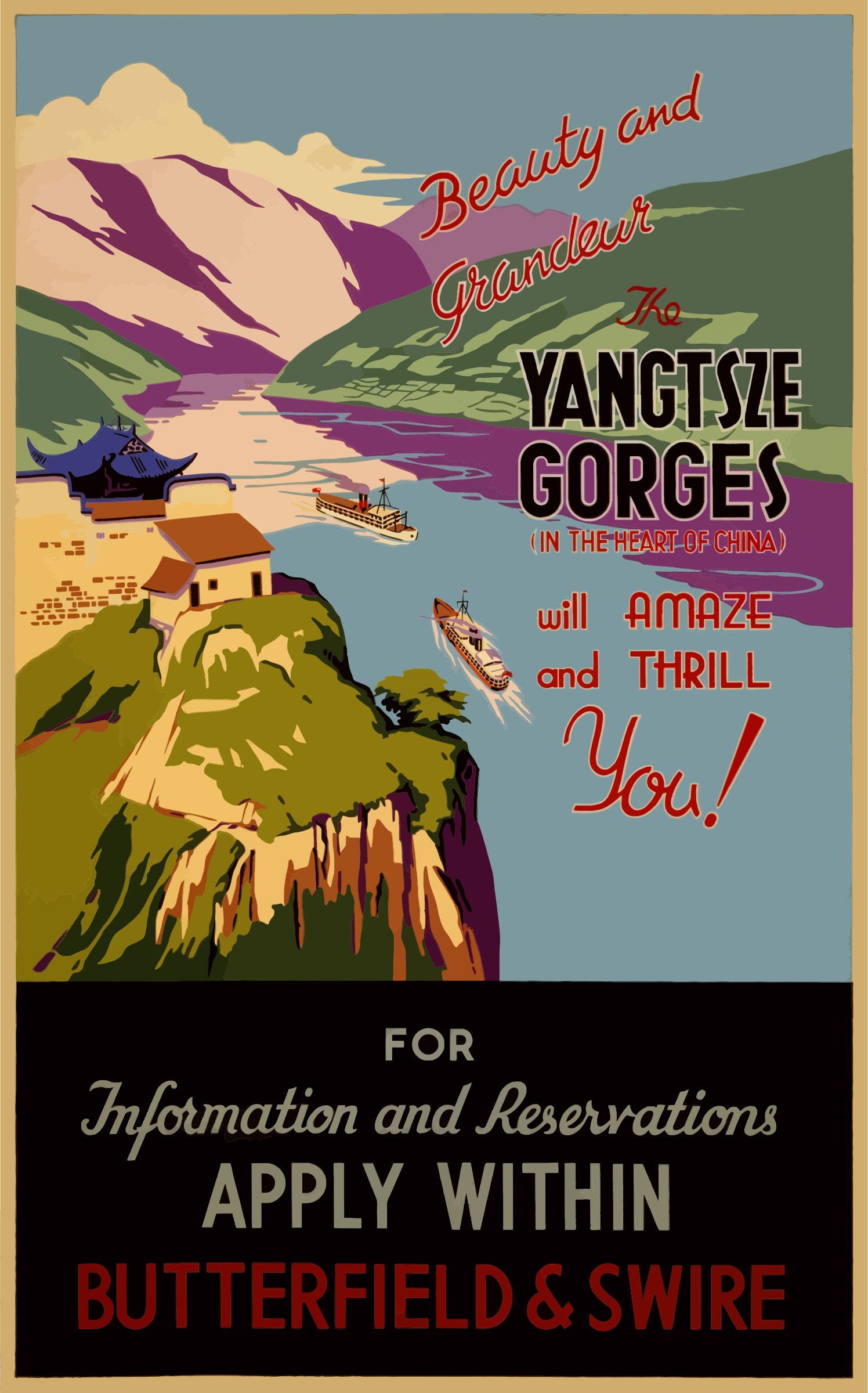 Vintage Travel Poster Yangtsze Gorges China by GDJ