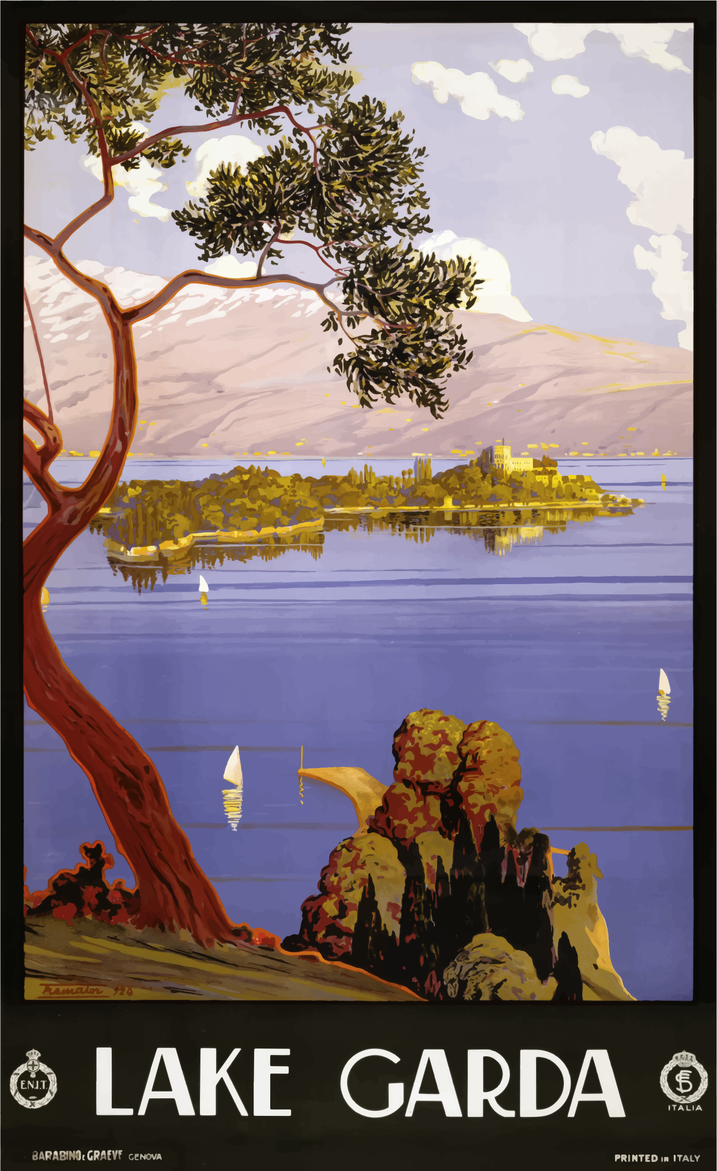 Clipart - Vintage Travel Poster Lake Garda Italy 1924