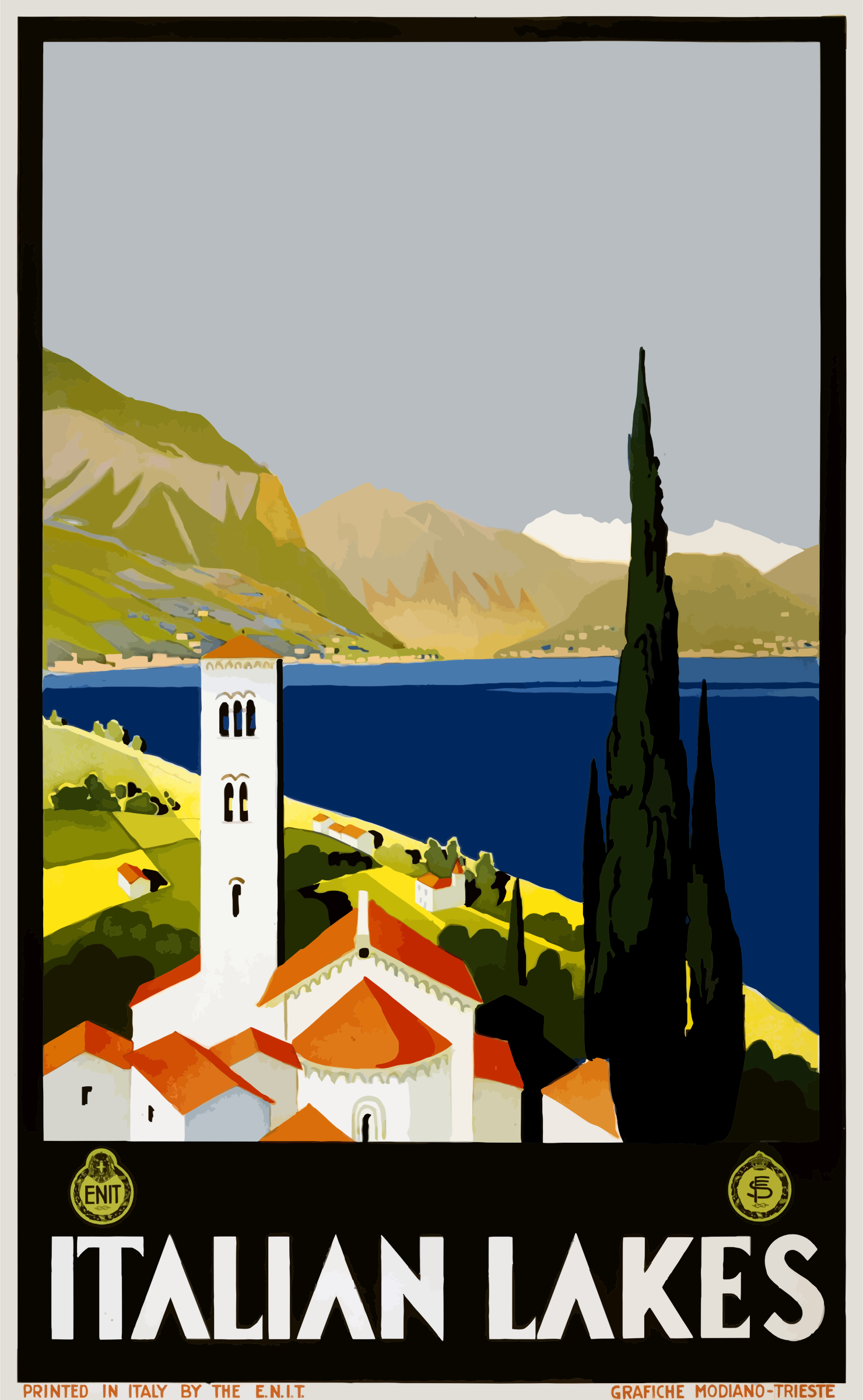 Vintage Travel Poster Italian Lakes by GDJ