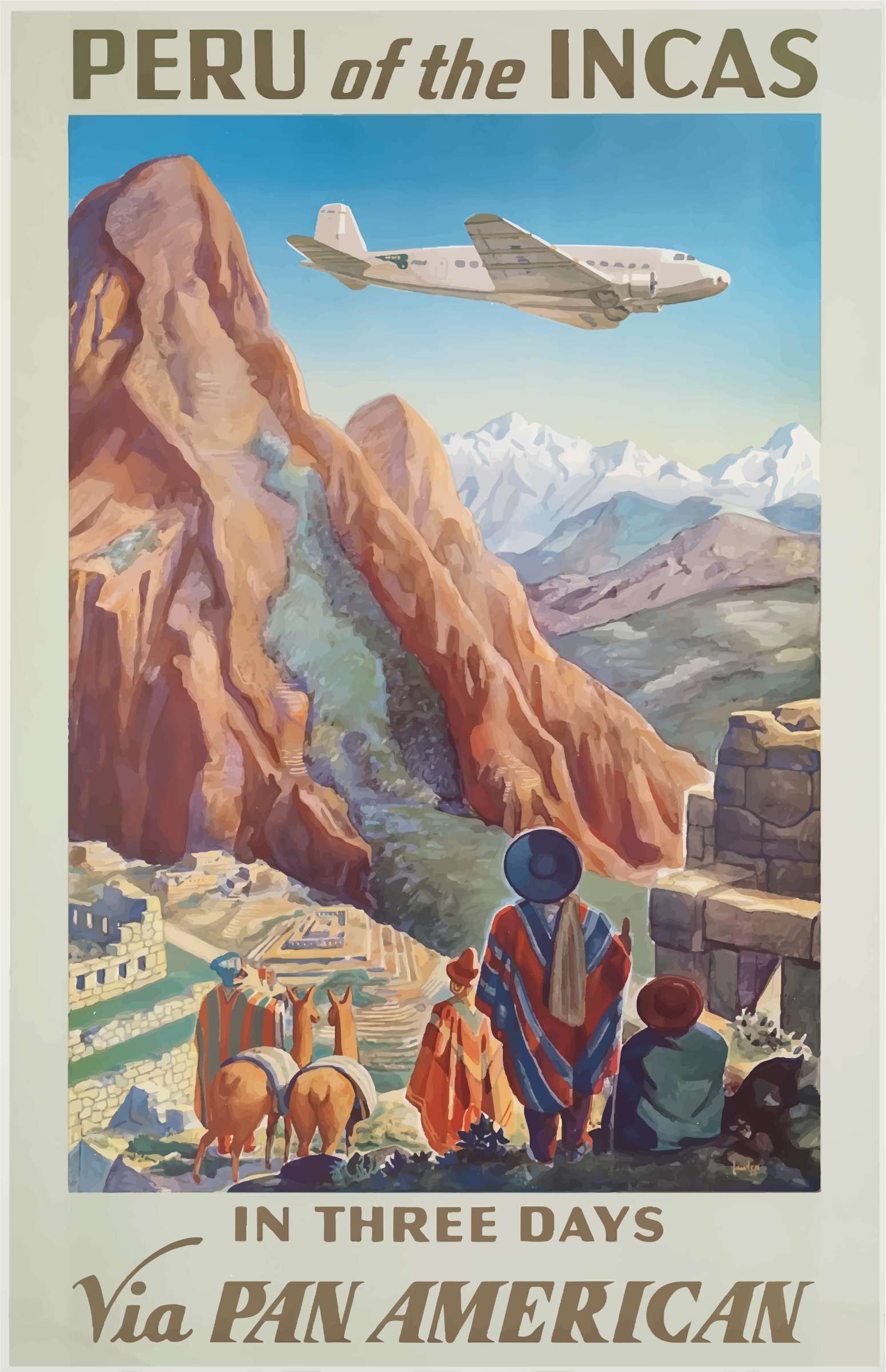 Vintage Travel Poster Peru by GDJ