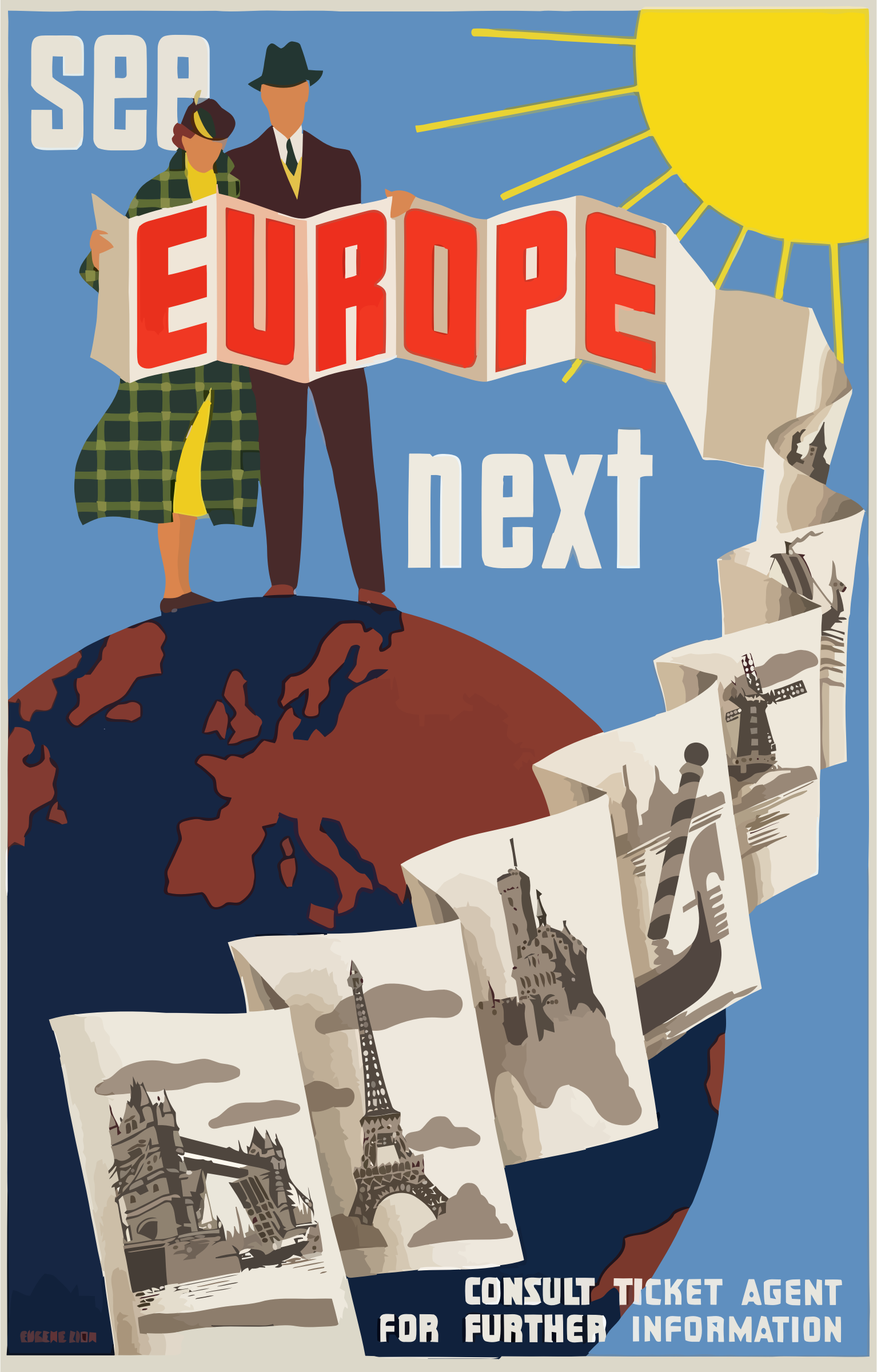Vintage Travel Poster Europe by GDJ