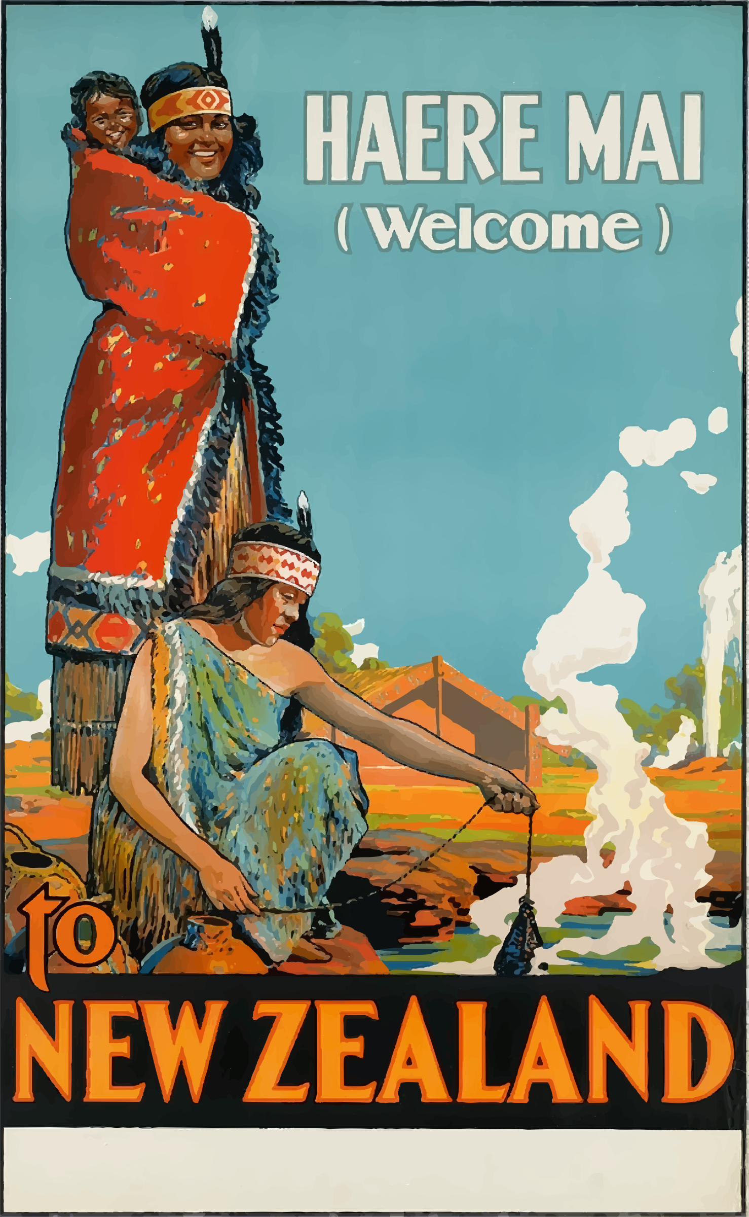 Vintage Travel Poster New Zealand by GDJ