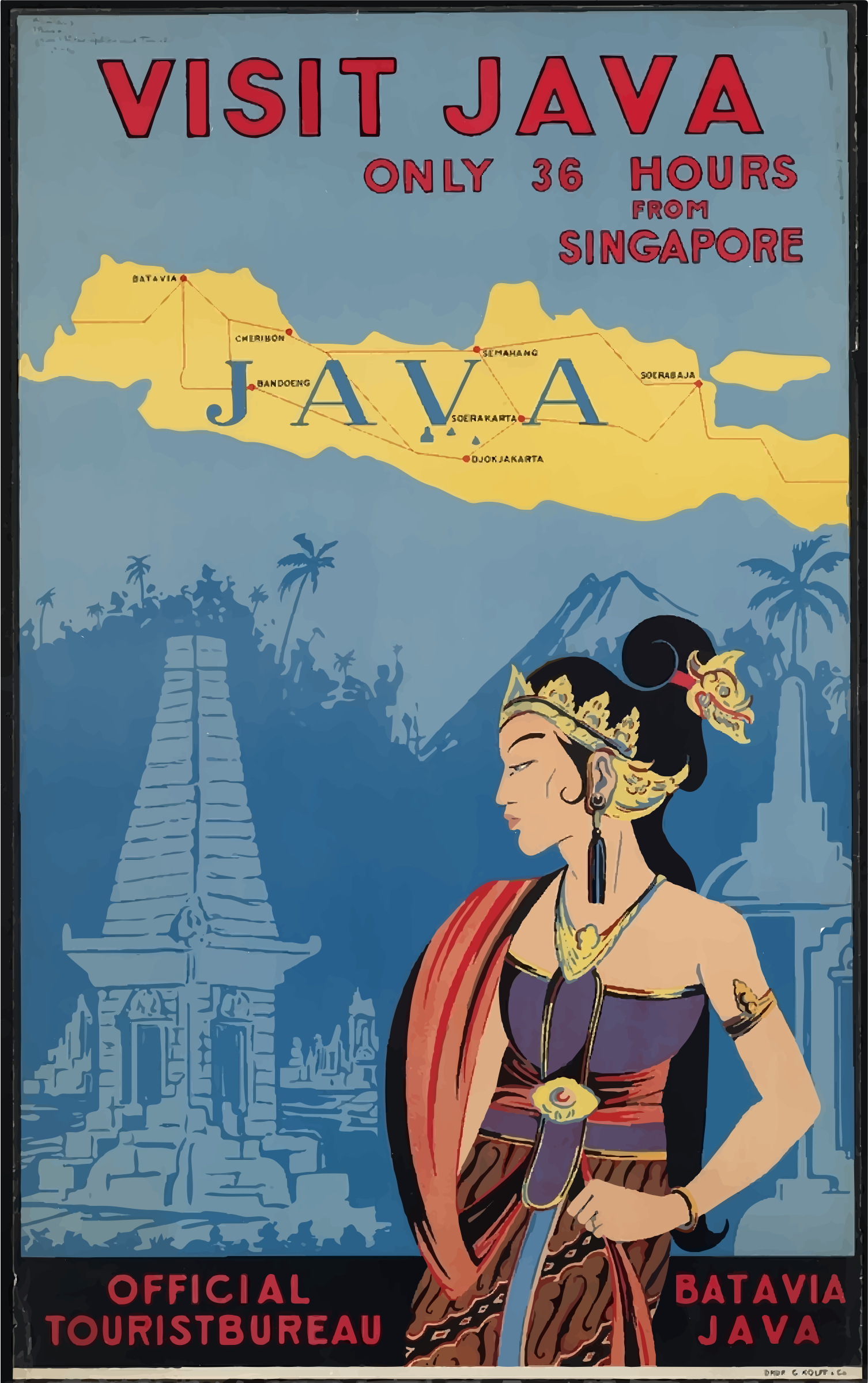 Vintage Travel Poster Java Indonesia by GDJ