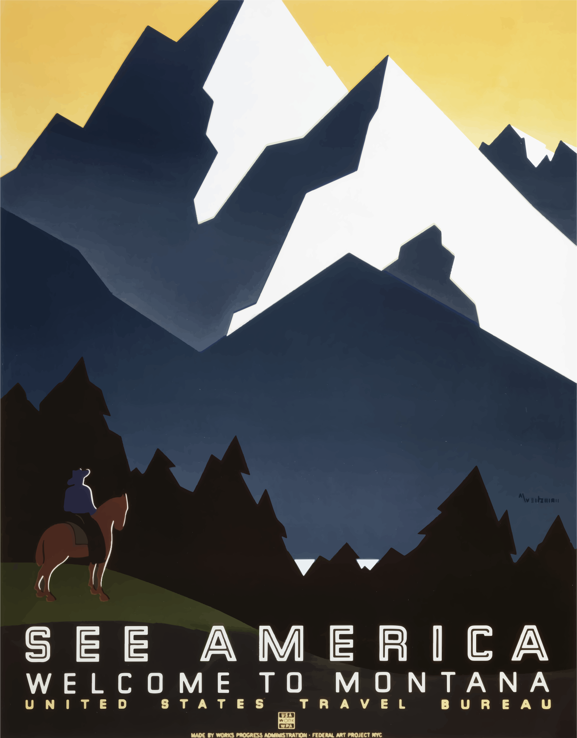Vintage Travel Poster Montana America USA by GDJ
