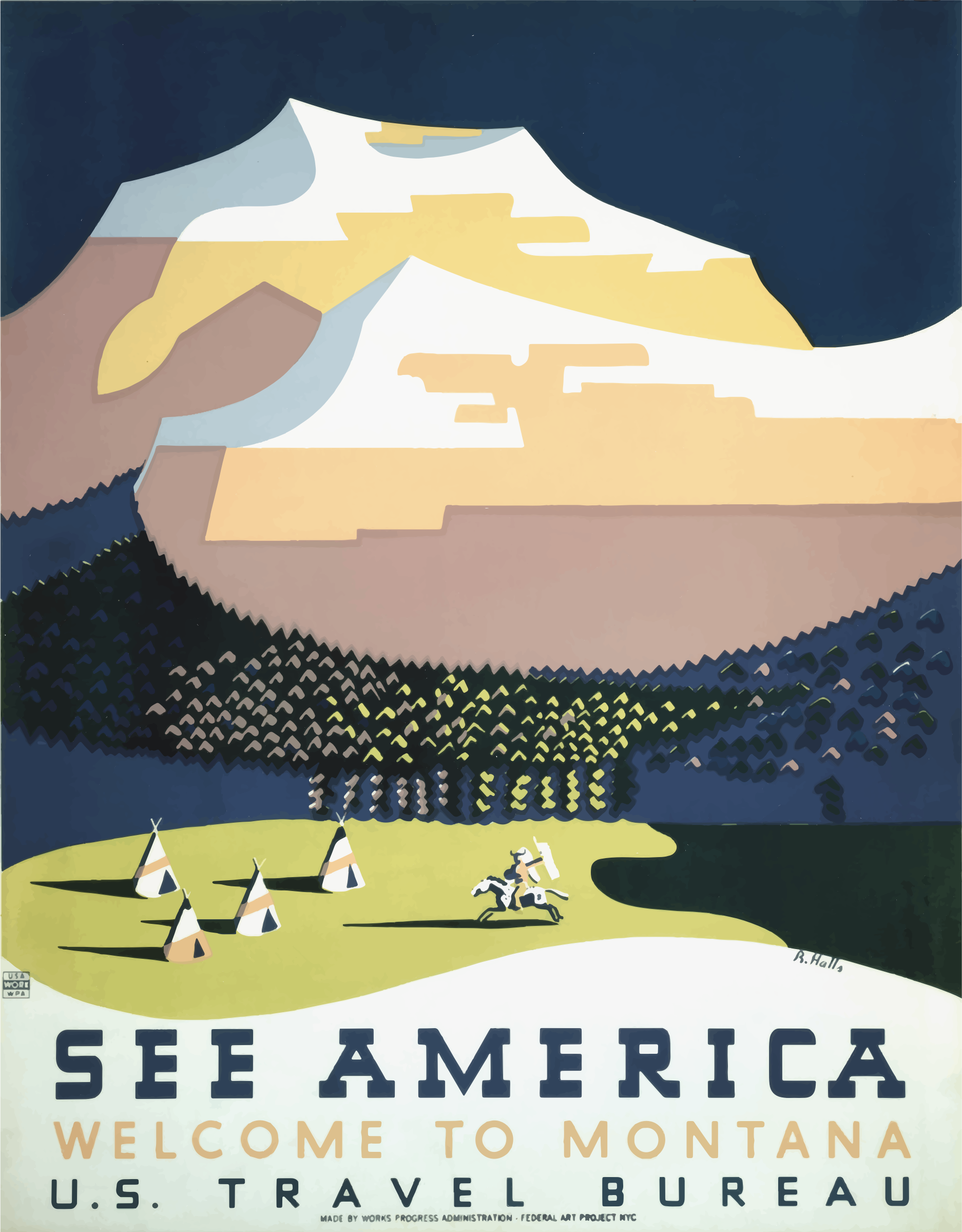 Vintage Travel Poster Montana America USA 2 by GDJ