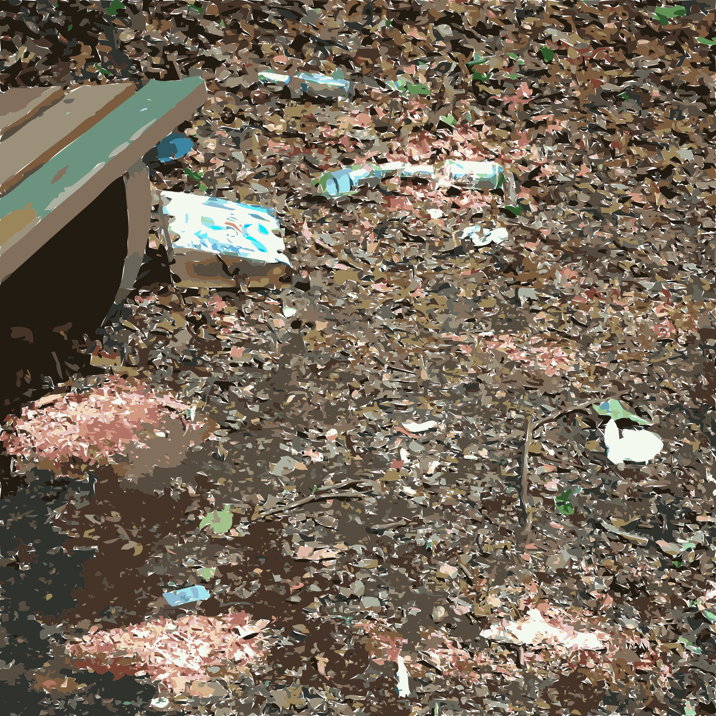 Garbage around a forest bench by ToBeFree