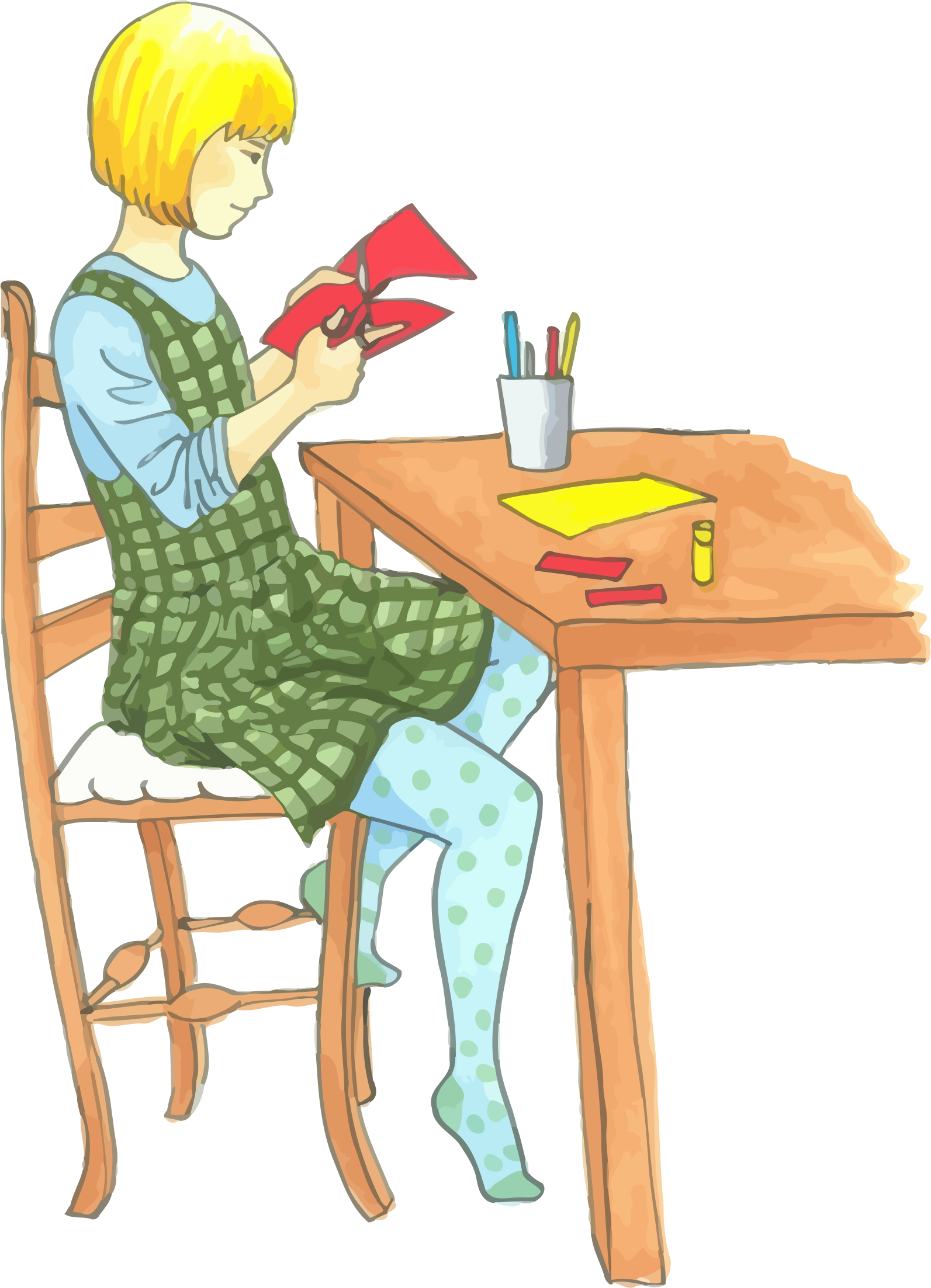 Blonde Girl Doing Crafts At A Table by GDJ