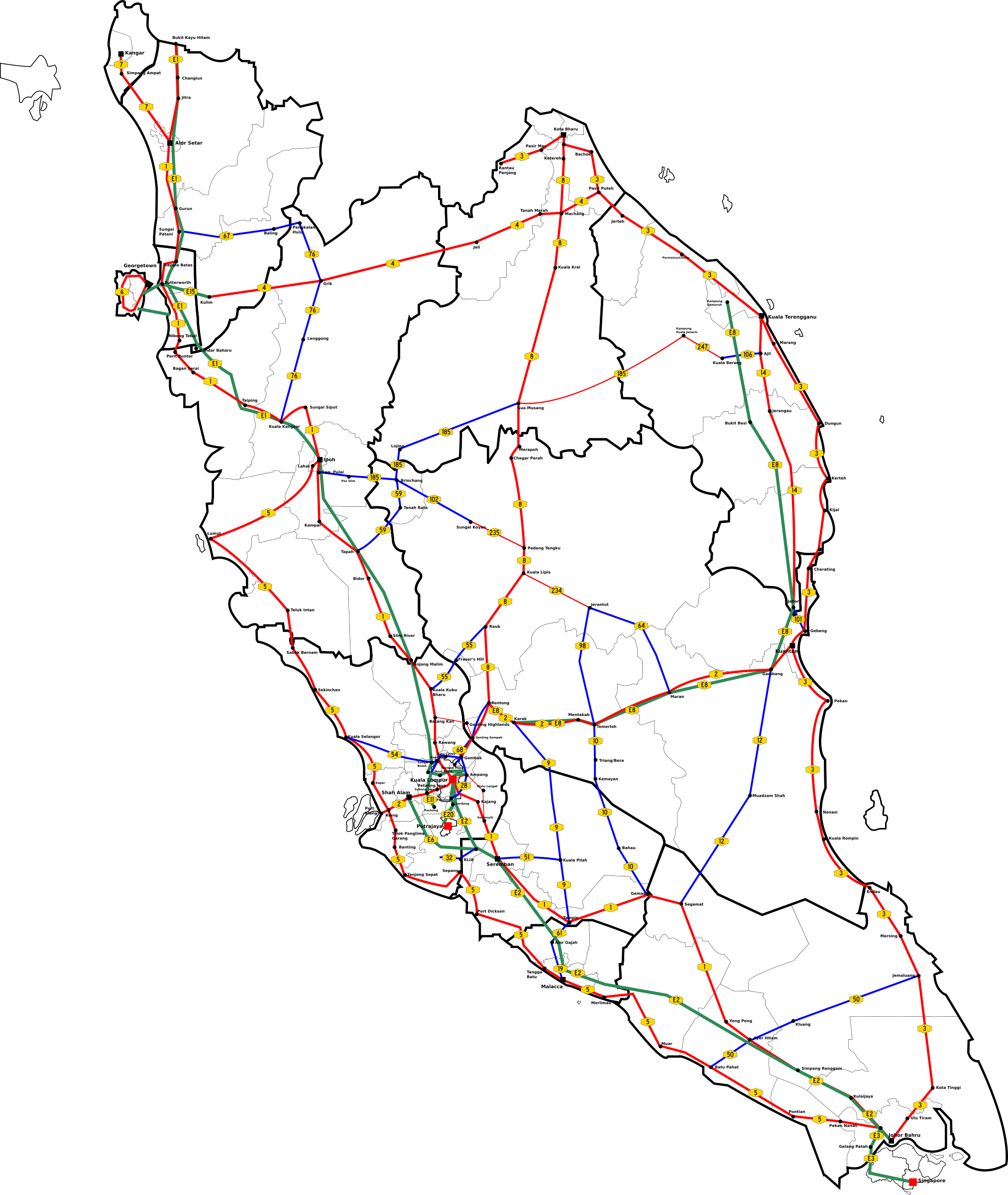Peninsular Malaysia Major Routes Map by derkommander0916
