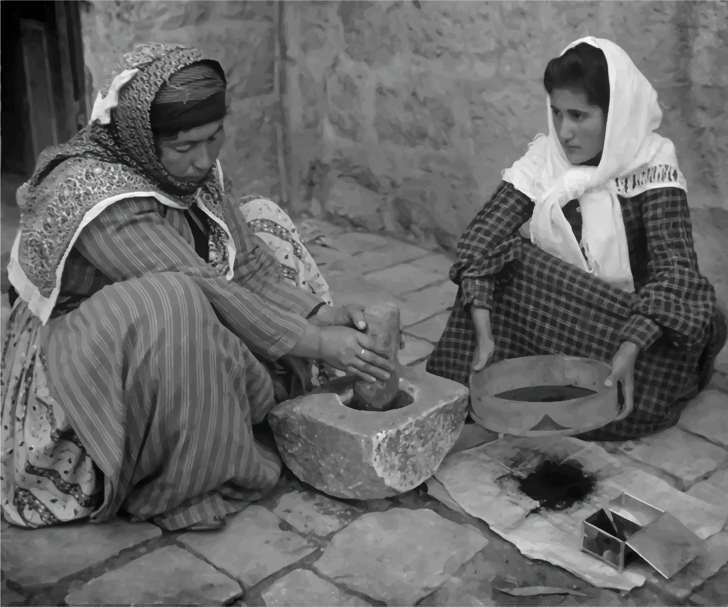 Palestinian Women Grinding Coffee Beans 1905 by GDJ