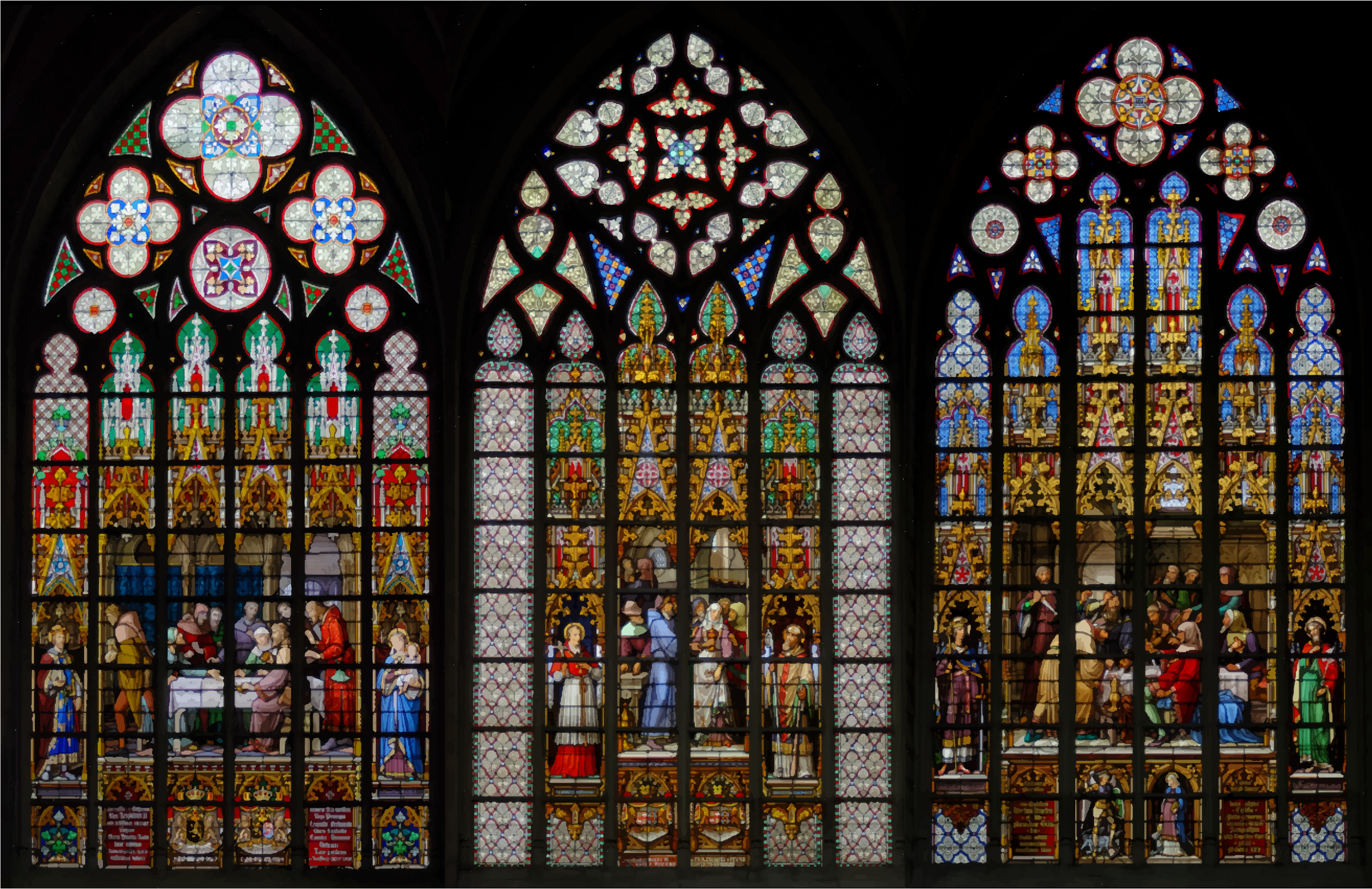 Stained Glass Windows Cathedral Of Saints Michel et Gudule Brussels by GDJ