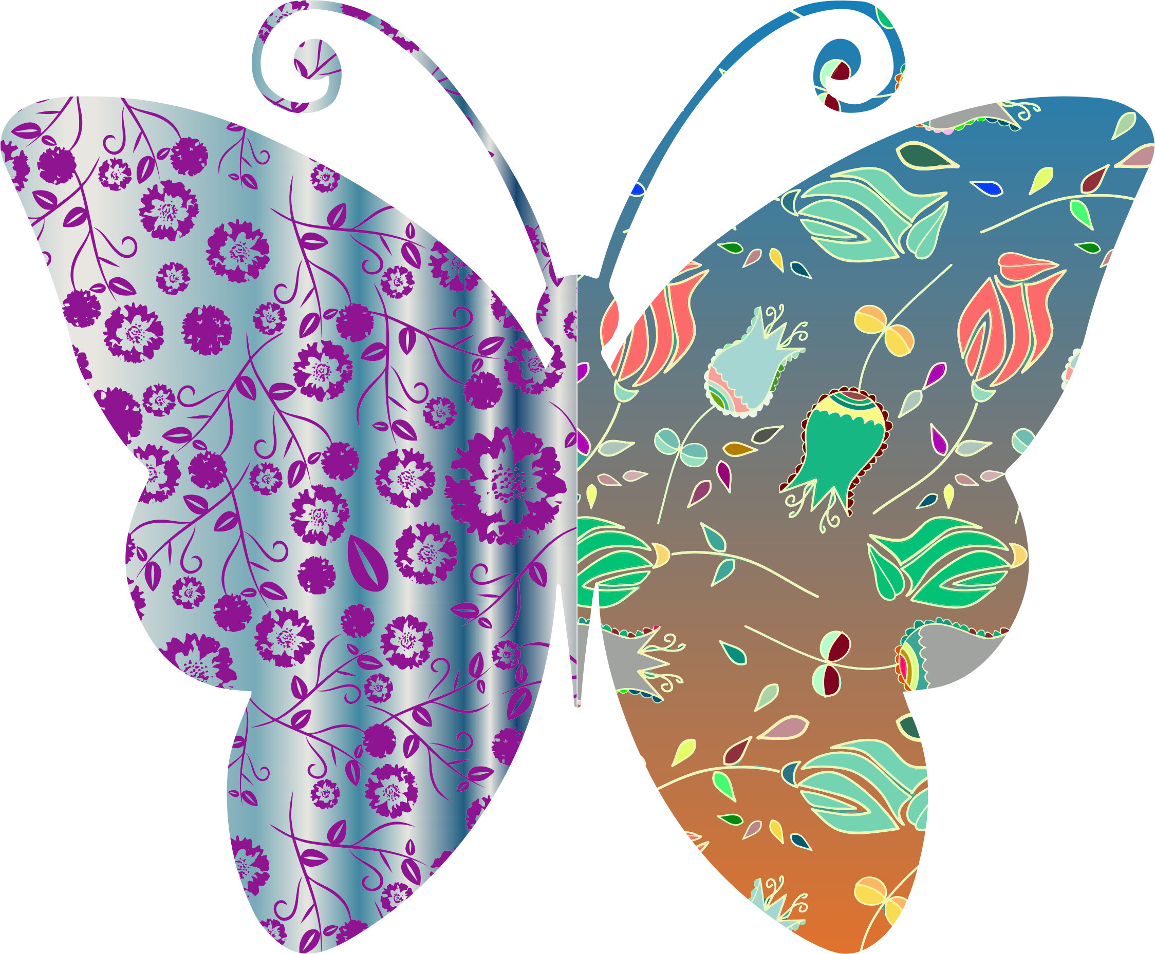 Vintage Style Floral Butterfly by GDJ