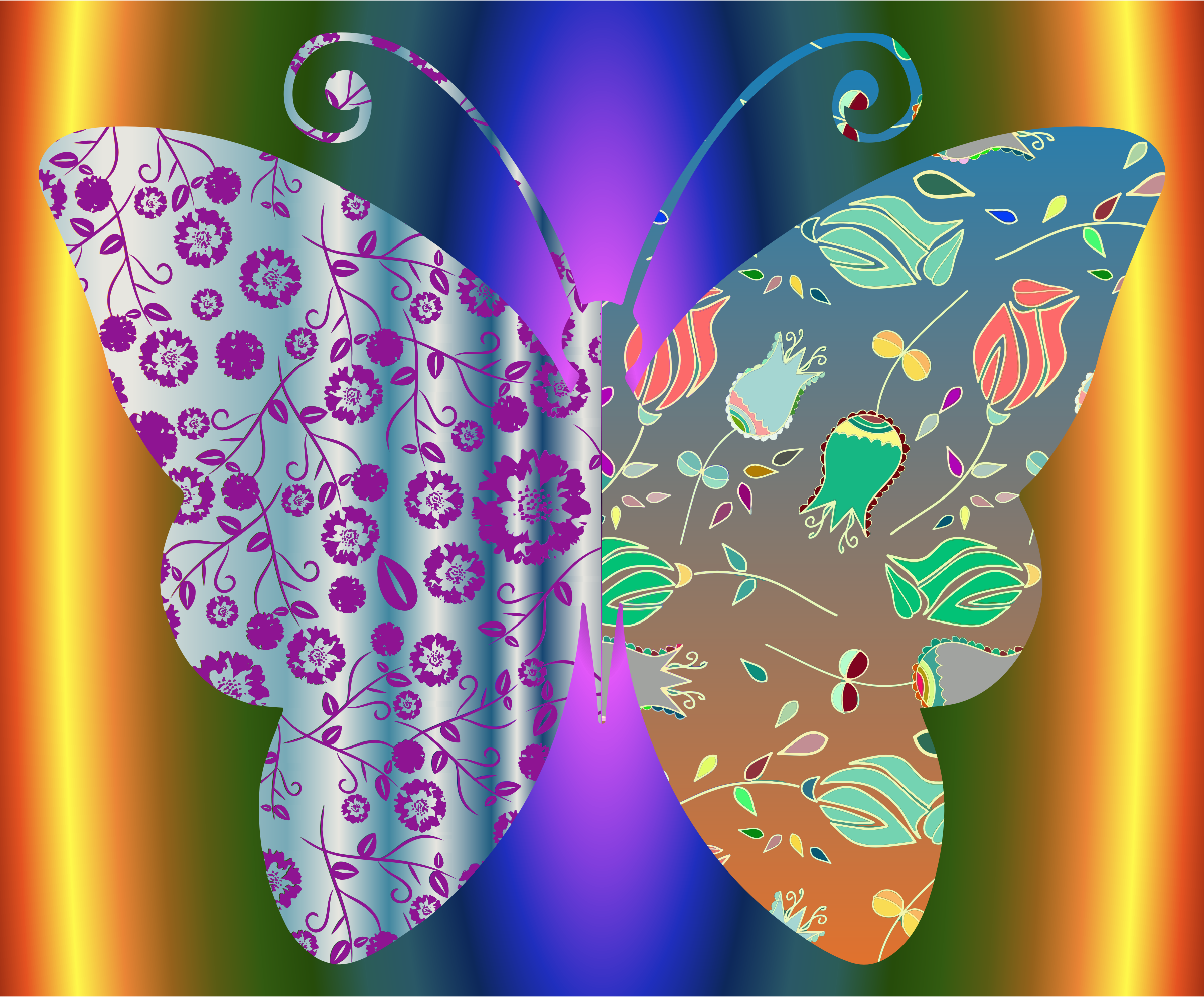 Vintage Style Floral Butterfly With Background by GDJ