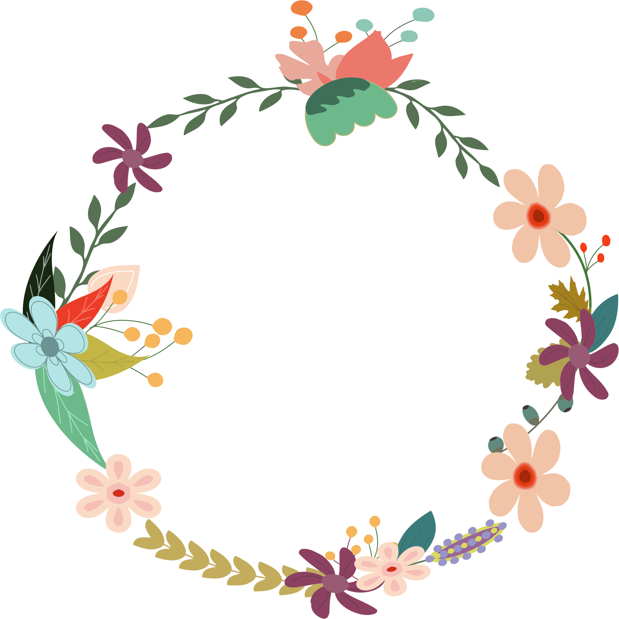 Vintage Floral Wreath by GDJ