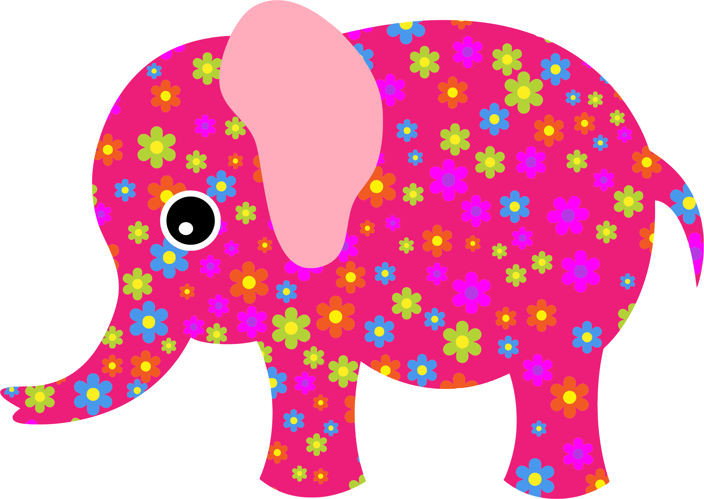 Retro Floral Elephant Pink by GDJ