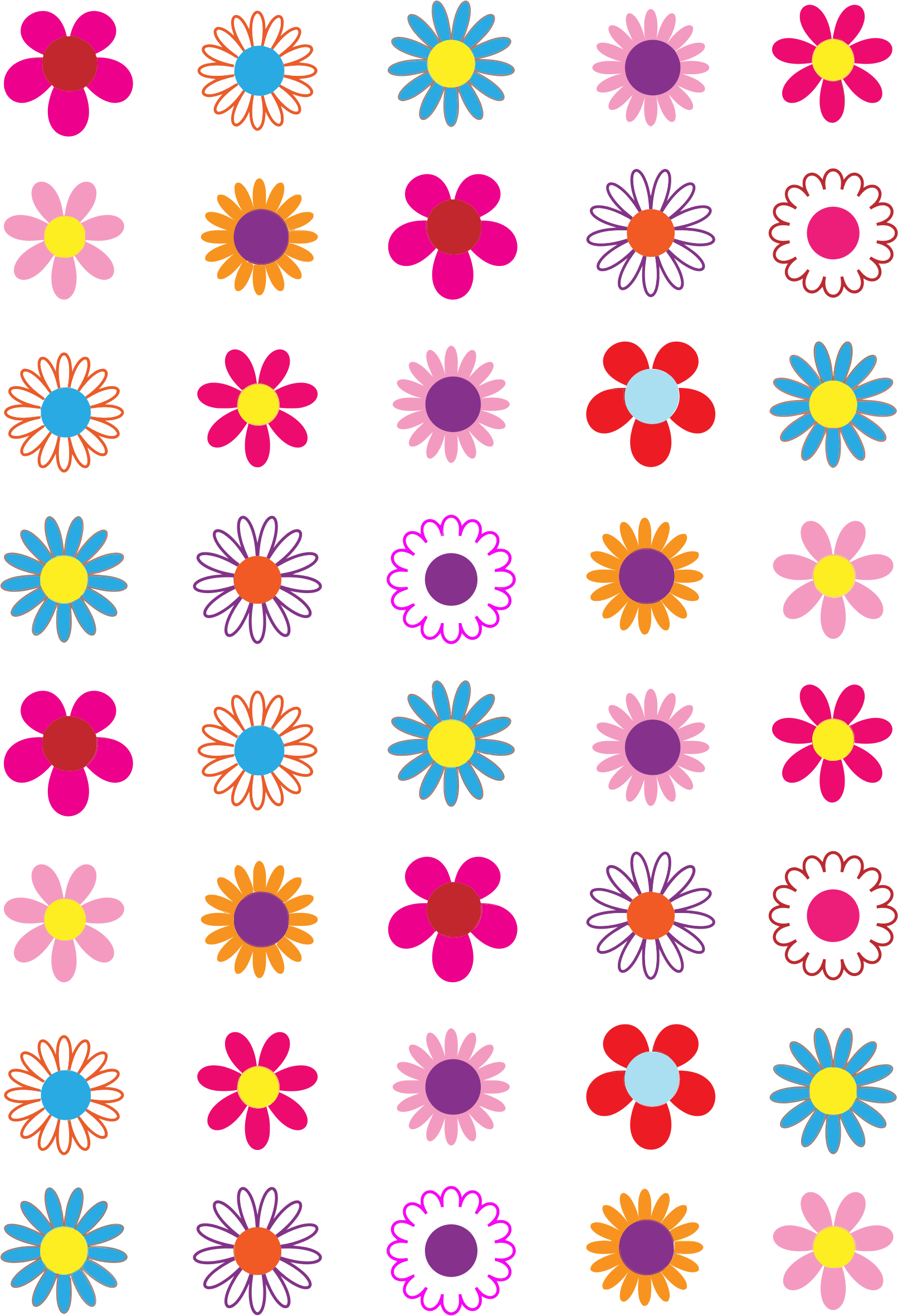 Simple Colorful Flowers by GDJ