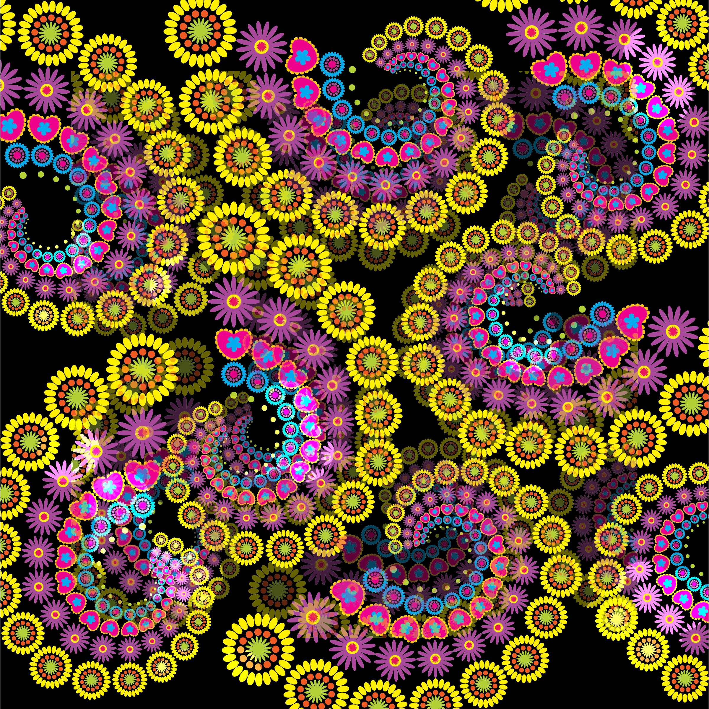 Spiral Floral Fractal Background by GDJ