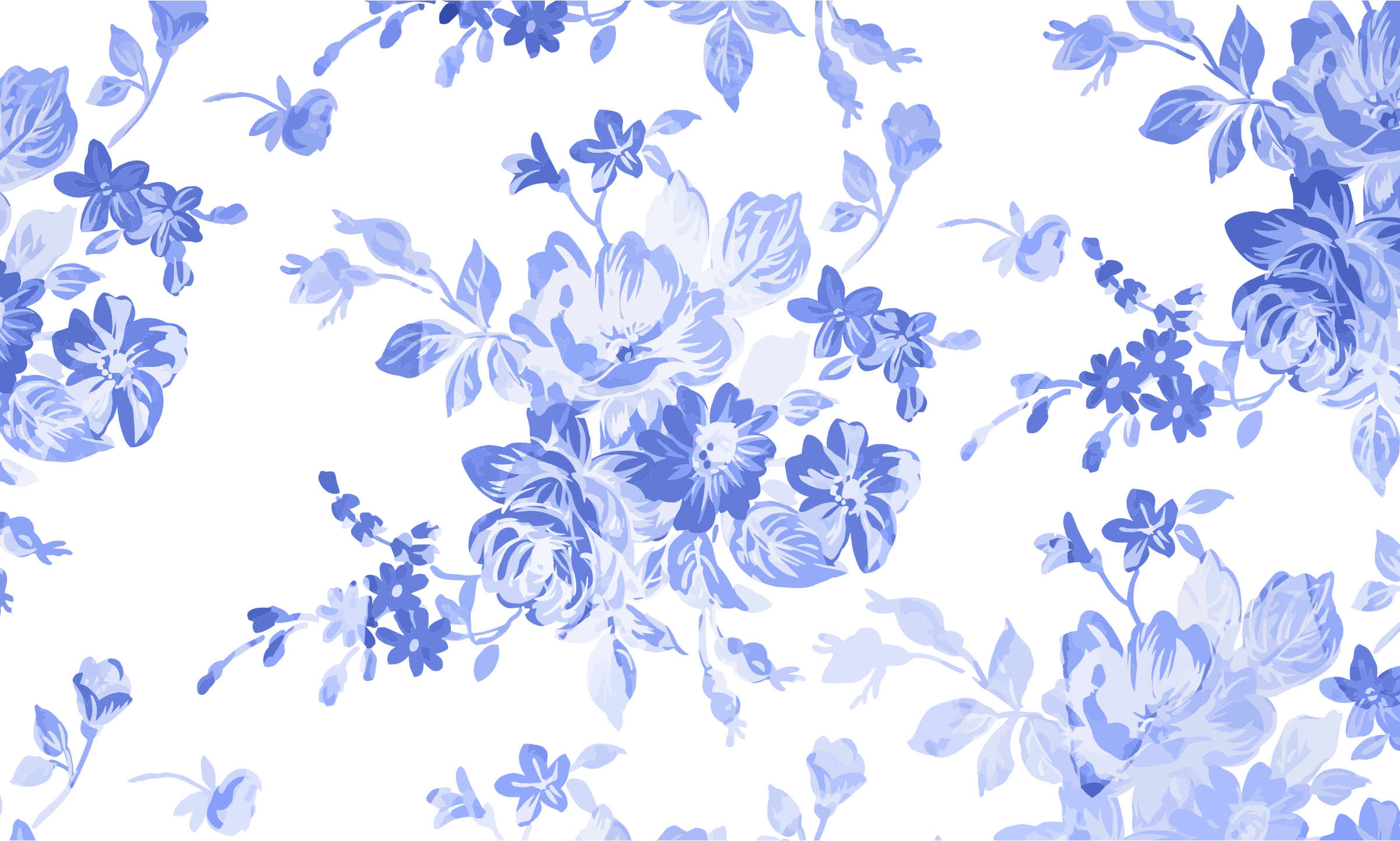 Blue Floral Watercolor Background by GDJ