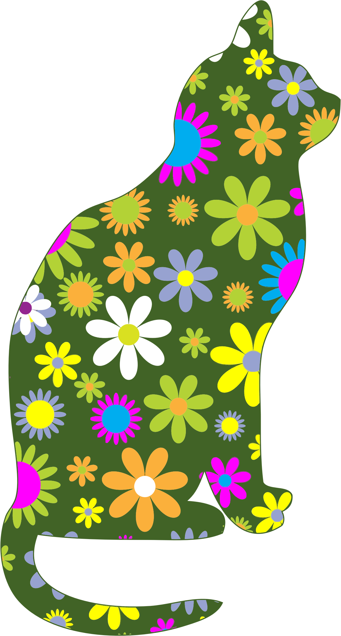 Retro Floral Cat by GDJ