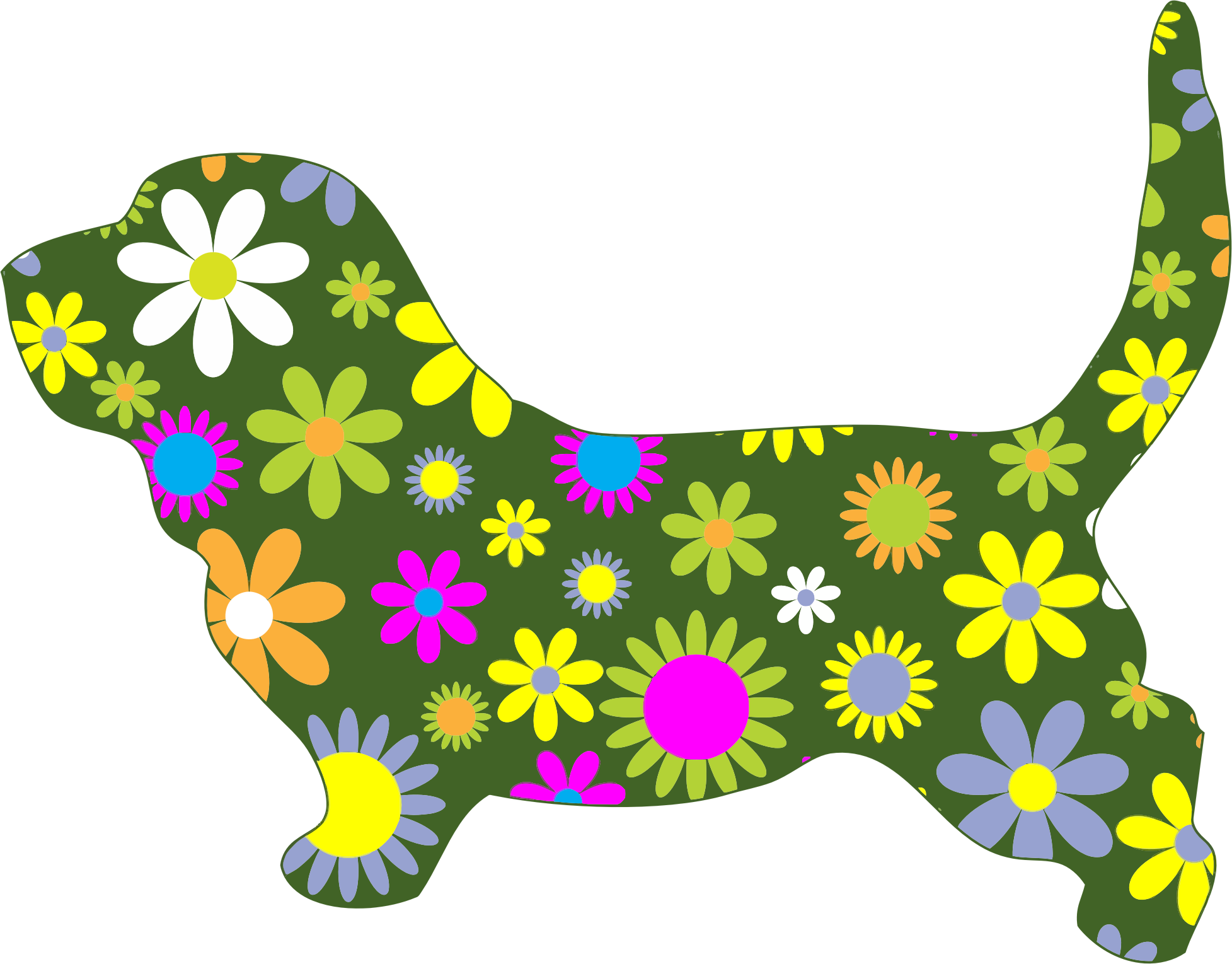 Retro Floral Dog by GDJ