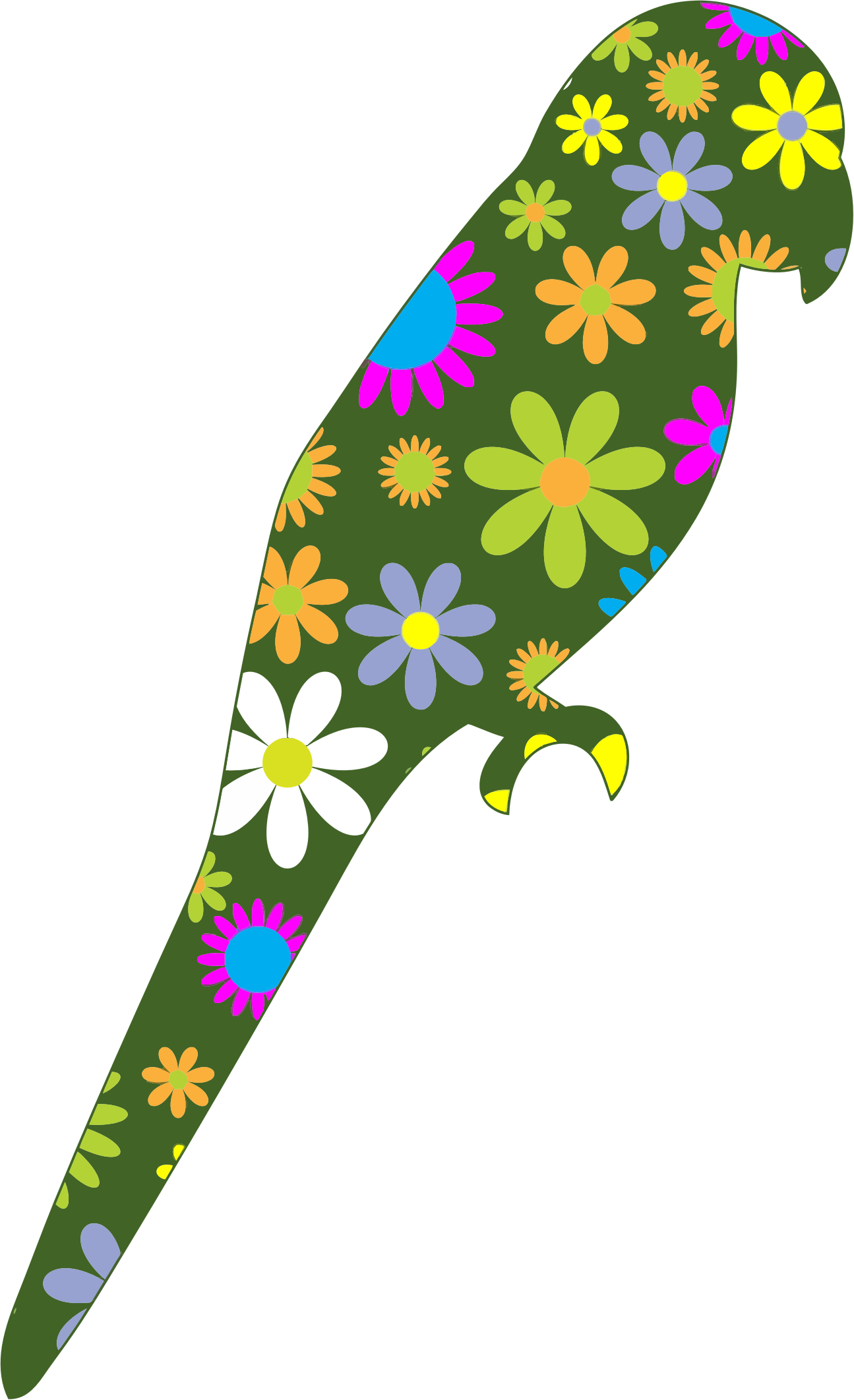 Retro Floral Parrot by GDJ