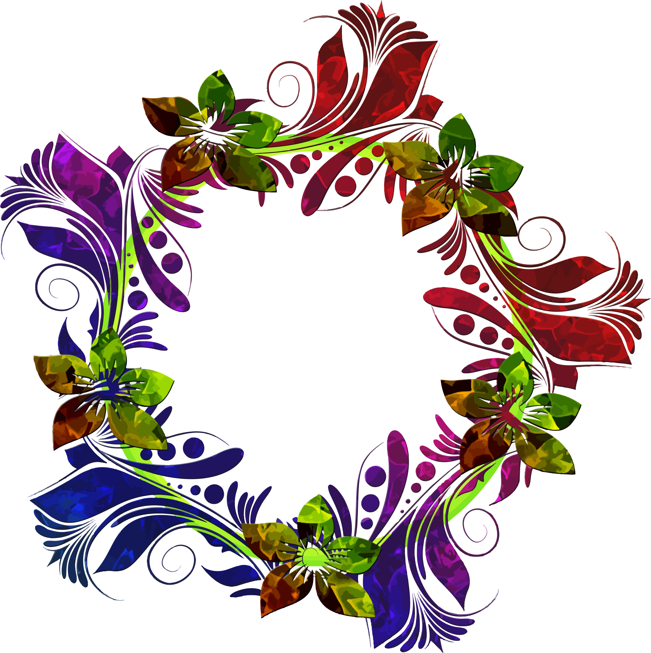 Colorful Floral Wreath by GDJ