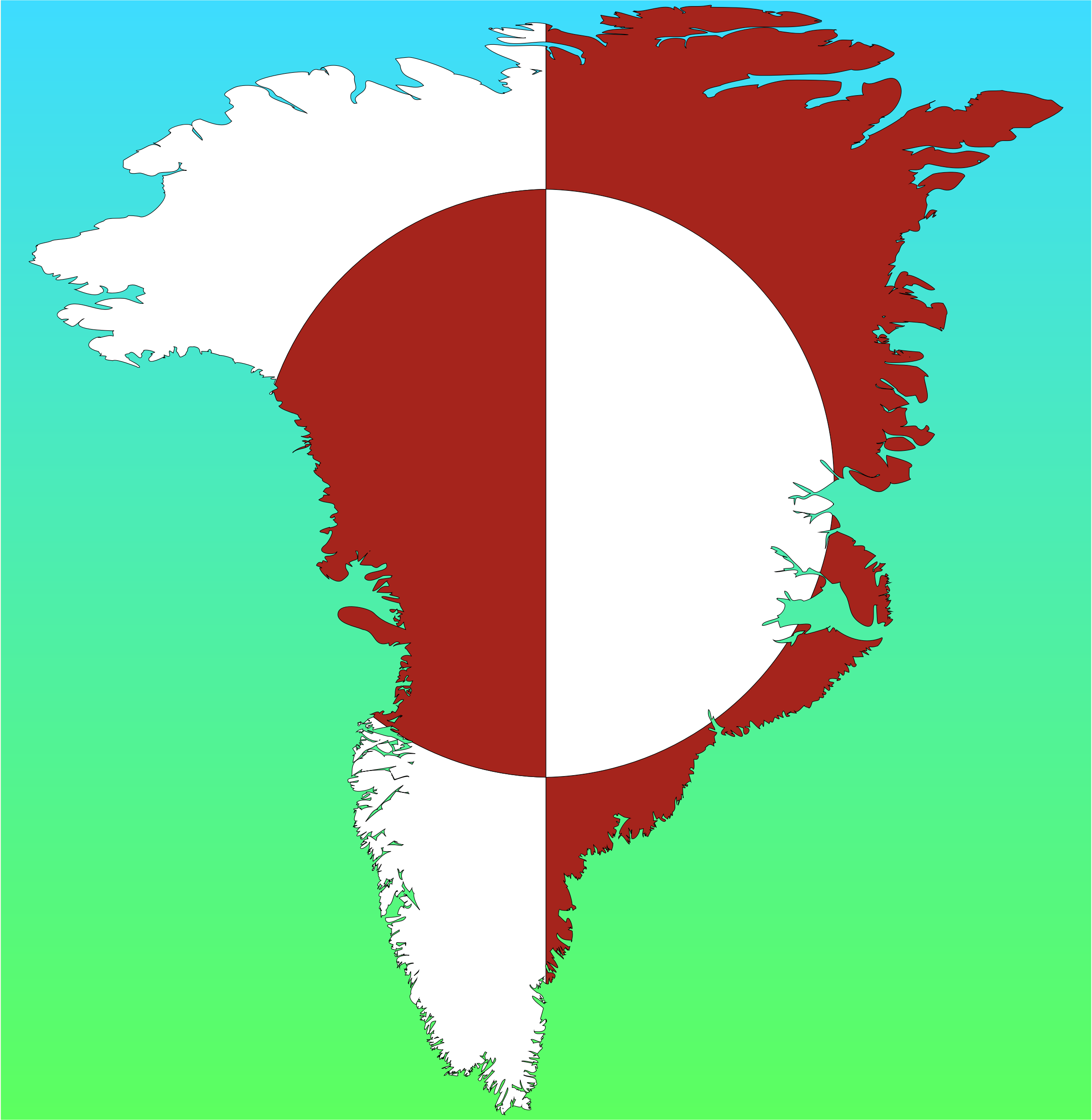 Greenland Map Flag With Background by GDJ