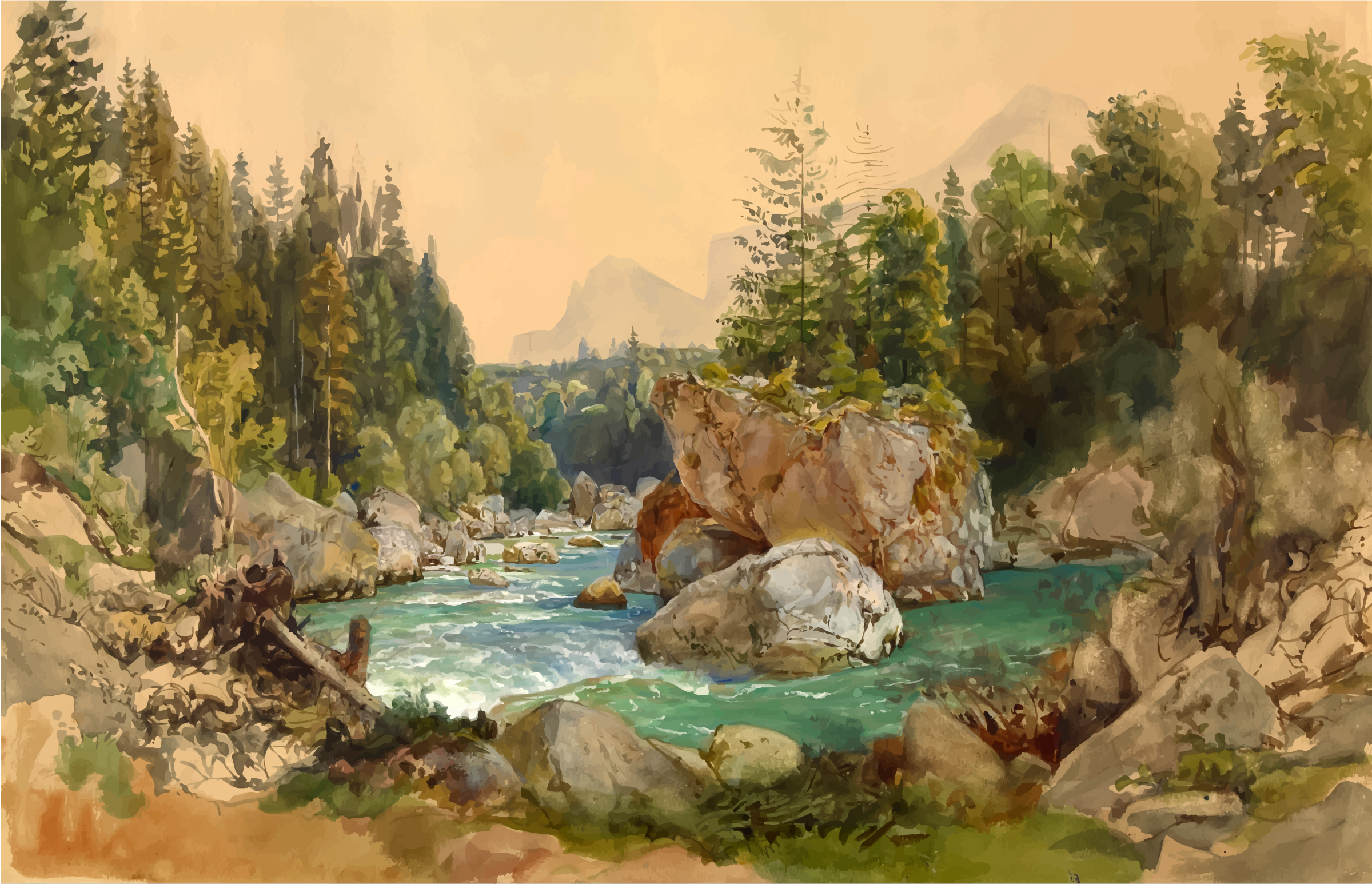 Wooded River Landscape in the Alps Thomas Ender by GDJ