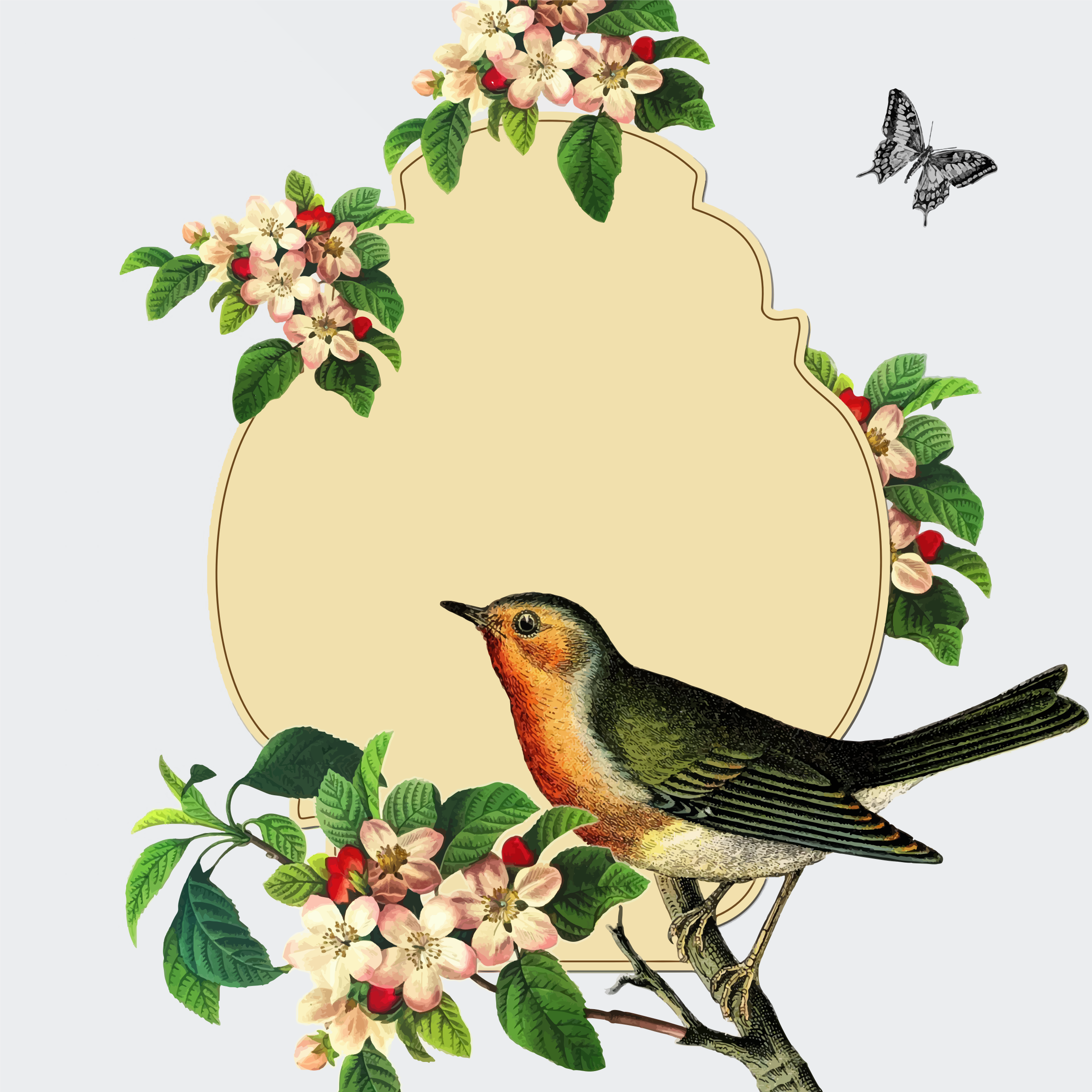 Vintage Bird With Apple Blossom by GDJ