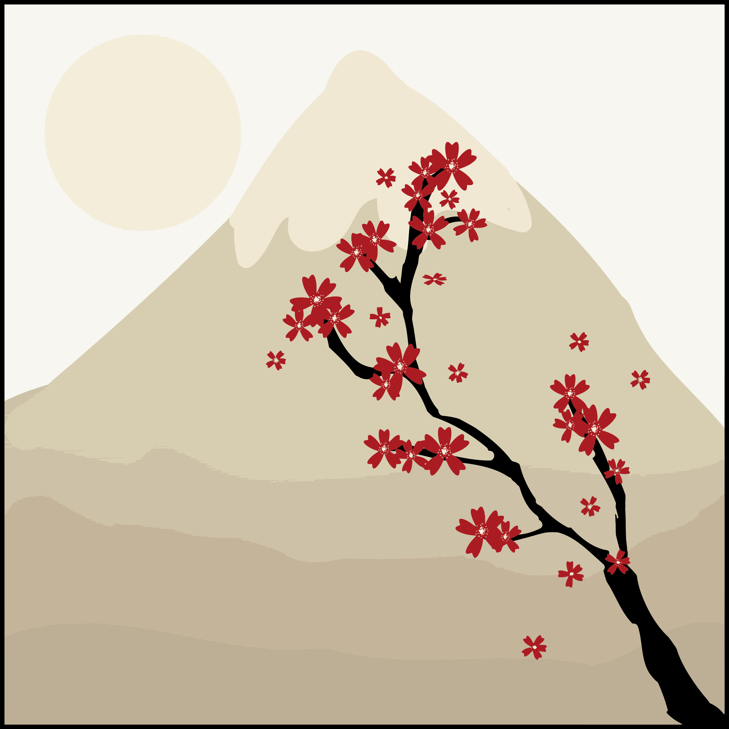 Japanese Maple Tree In The Shadow Of A Mountain by GDJ