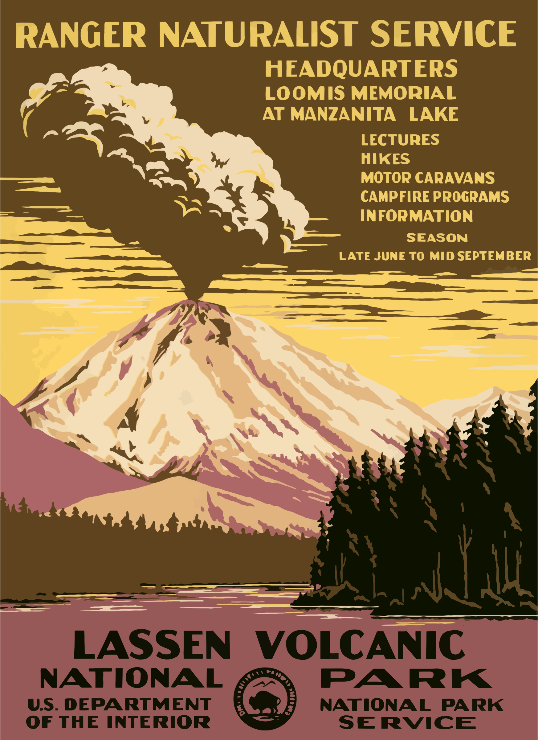 Vintage Travel Poster Lassen Volcanic National Park by GDJ
