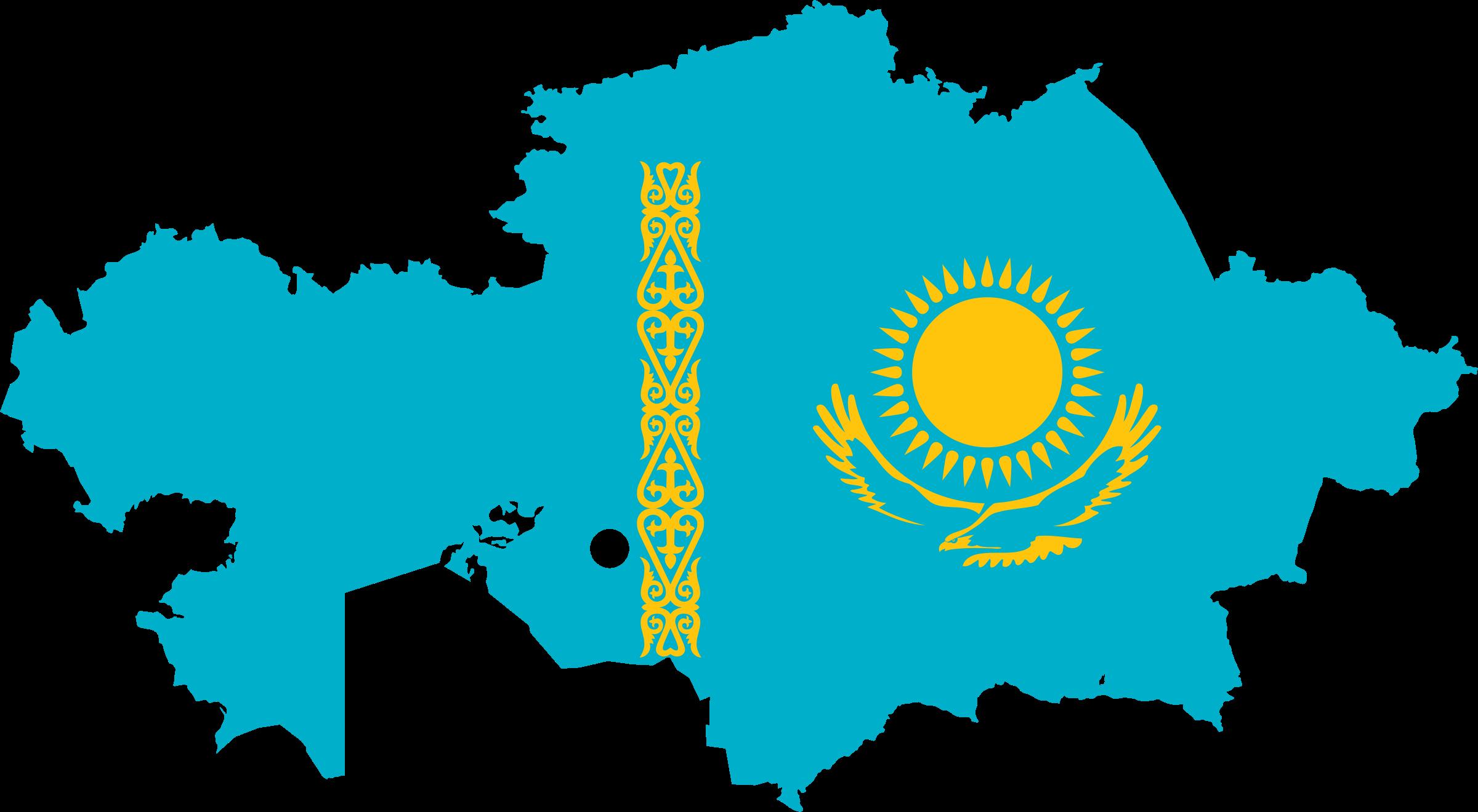 Clipart Kazakhstan Flag Map