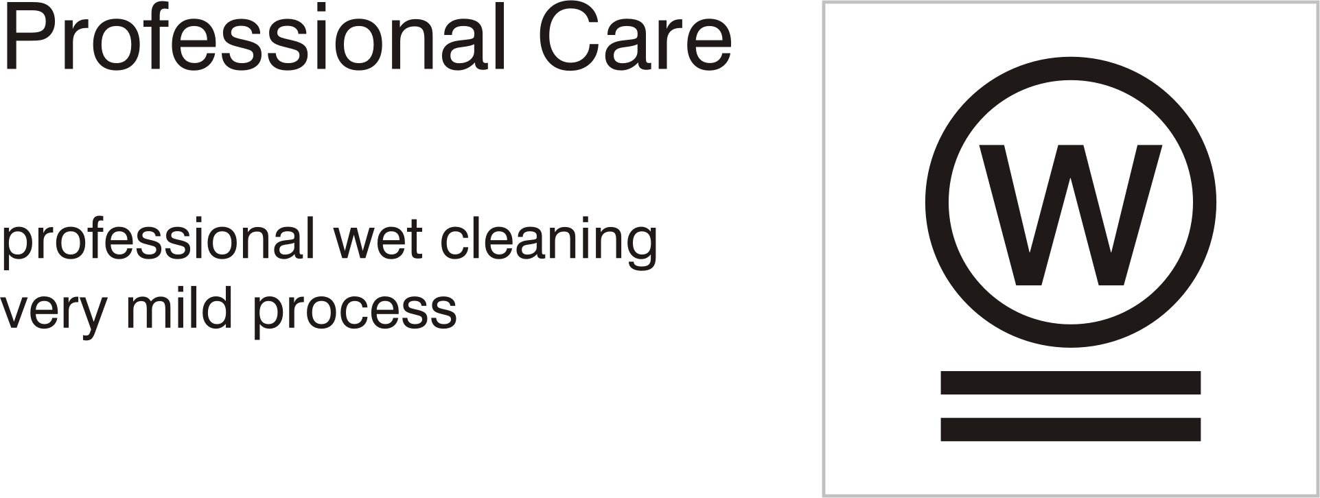 Care symbols, professional care: wet clean - very mild process by Vanja