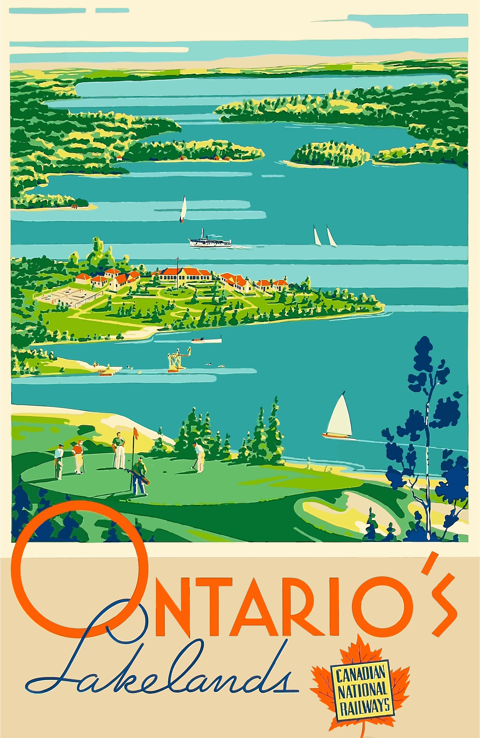 Vintage Travel Poster Ontario Canada by GDJ