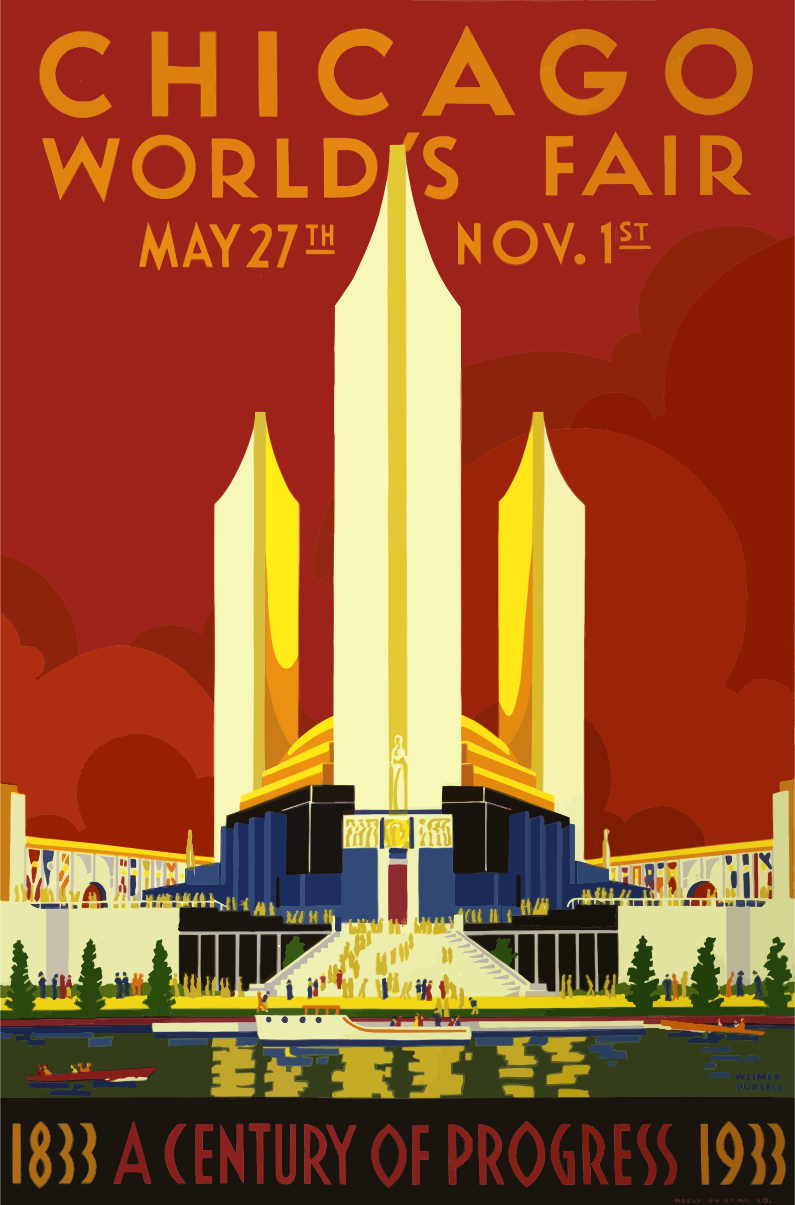 Vintage Travel Poster Chicago Worlds Fair 1933 by GDJ