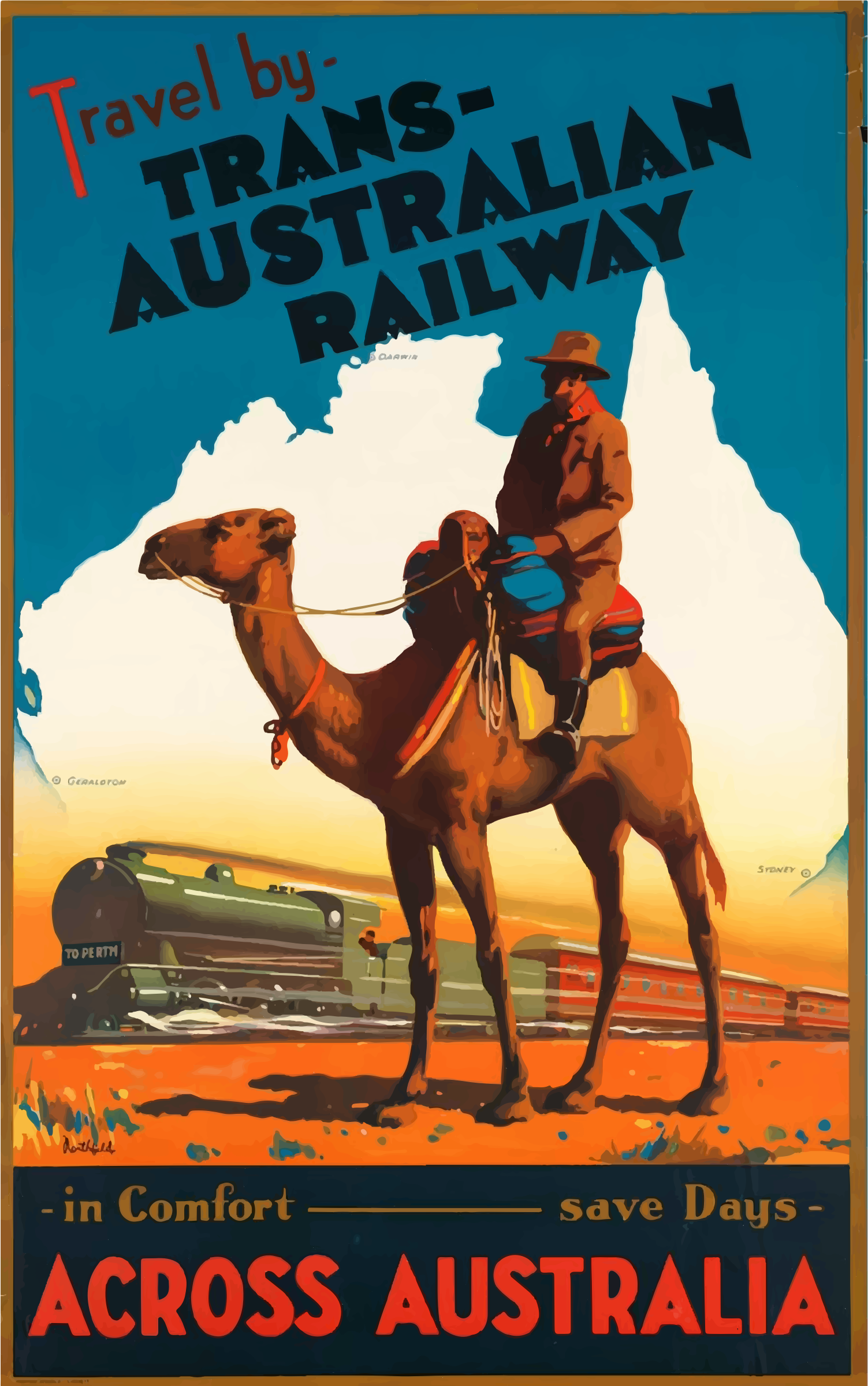 Vintage Travel Poster Australia by GDJ