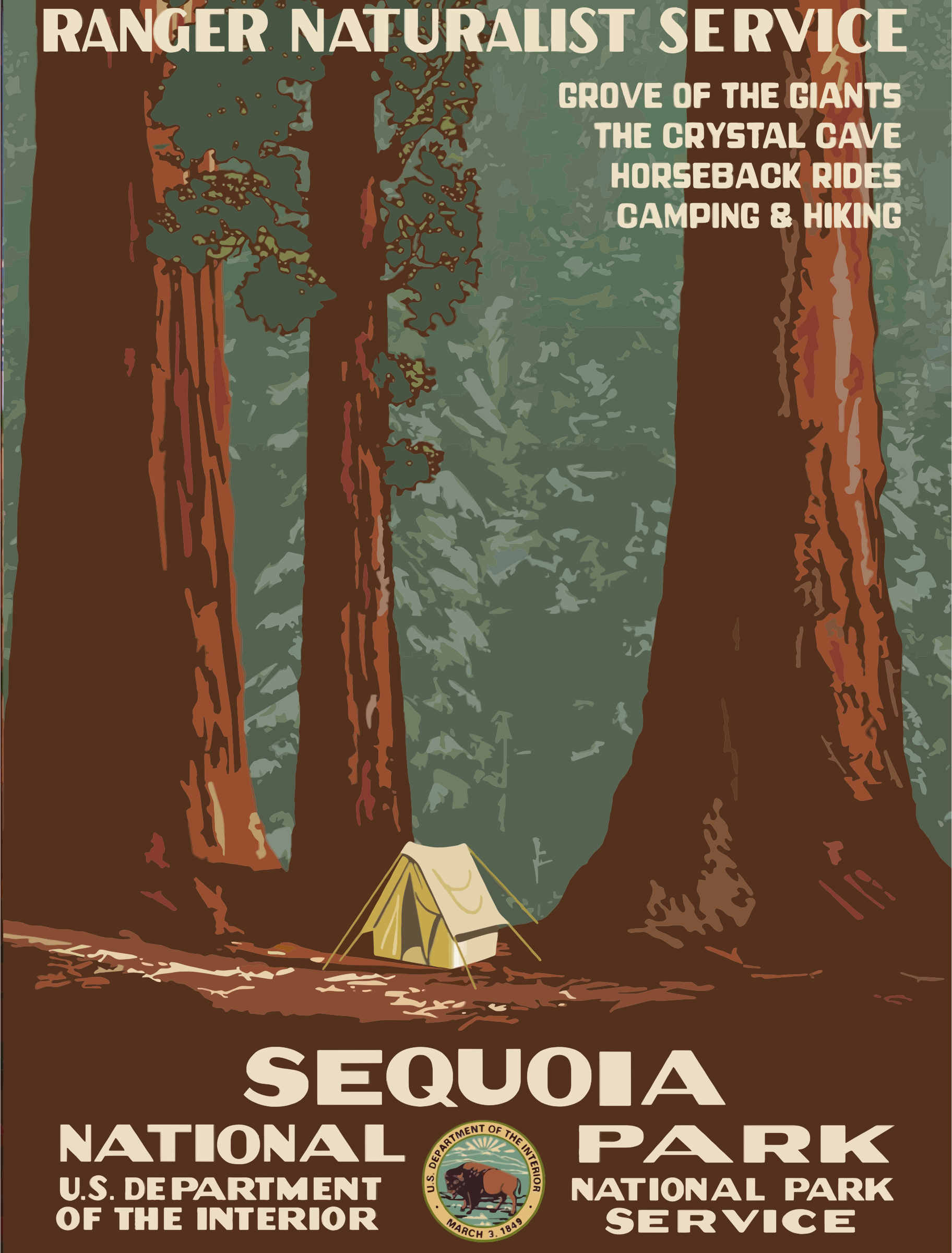 Vintage Travel Poster Sequoia National Park by GDJ
