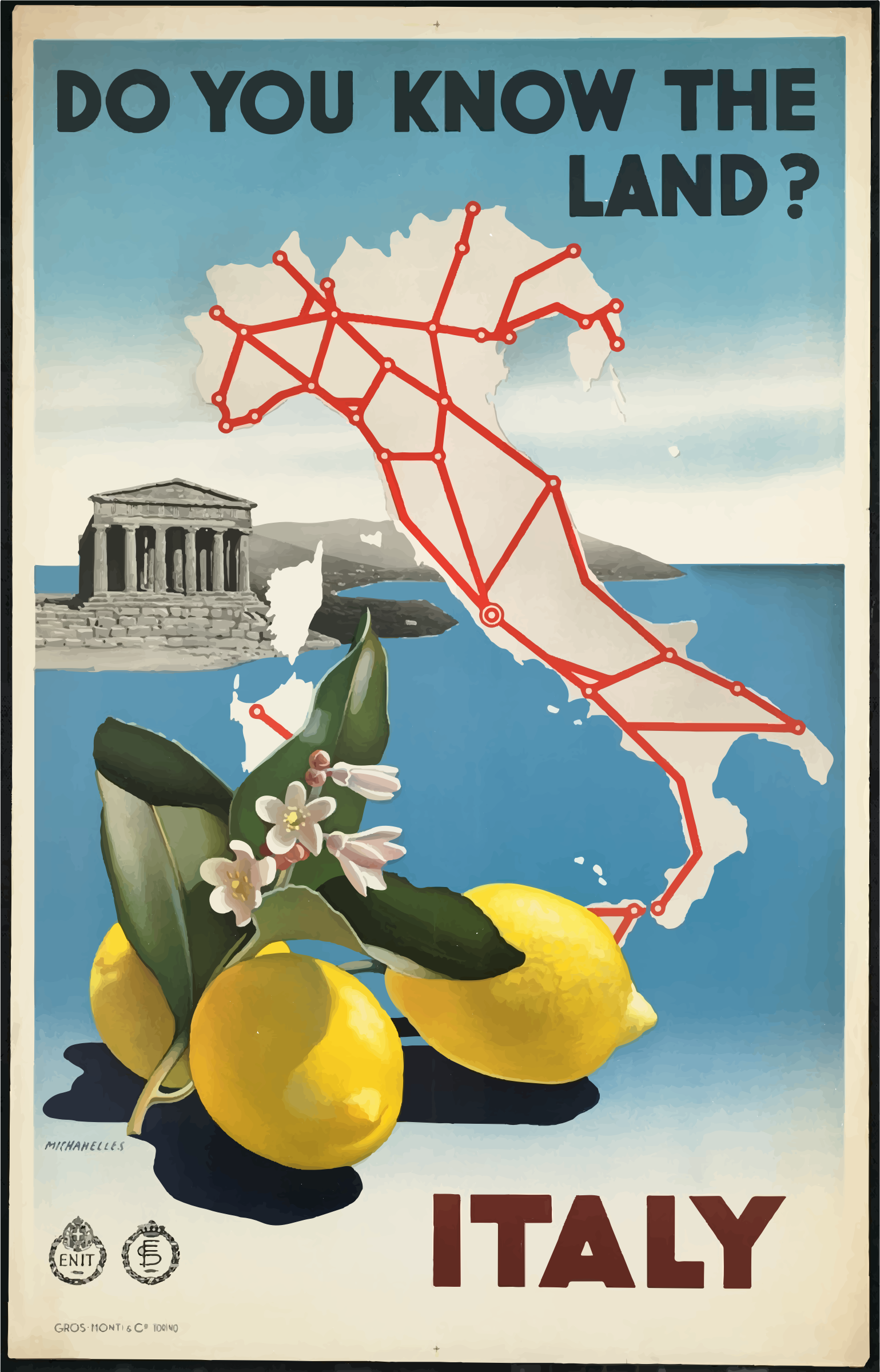 Vintage Travel Poster Italy 2 by GDJ