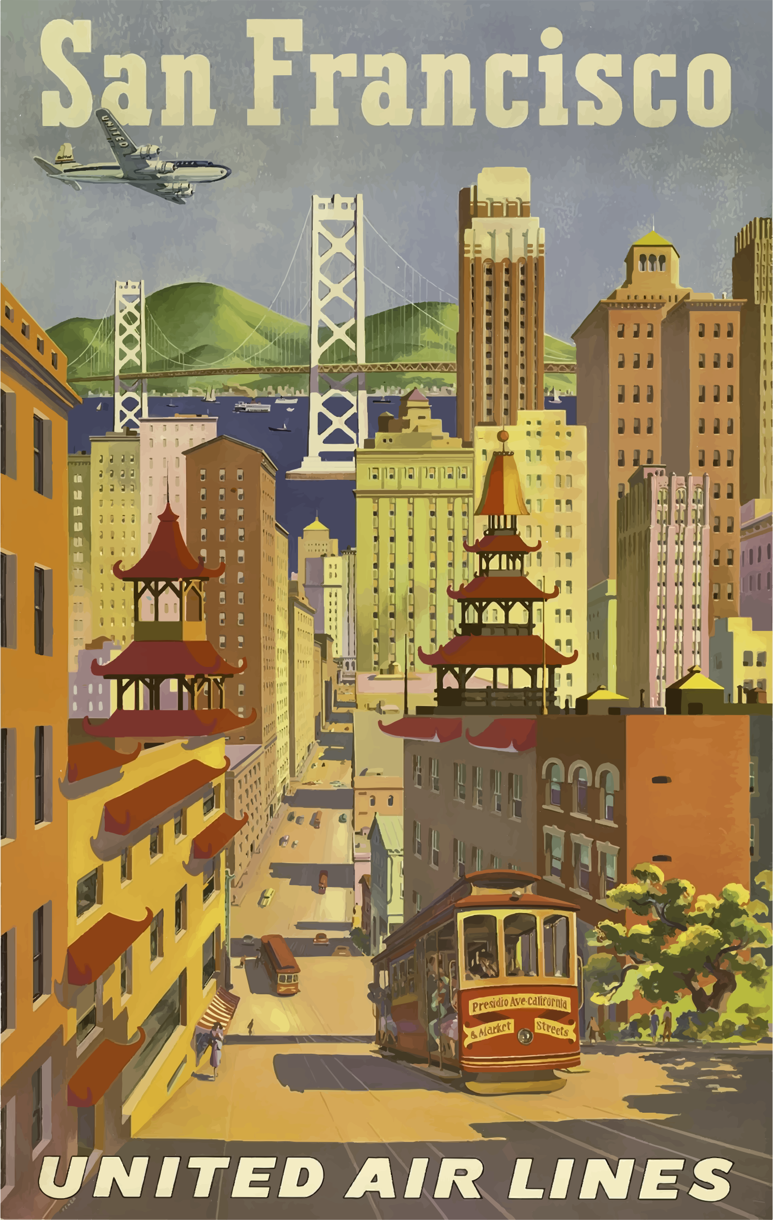 Vintage Travel Poster San Francisco 2 by GDJ