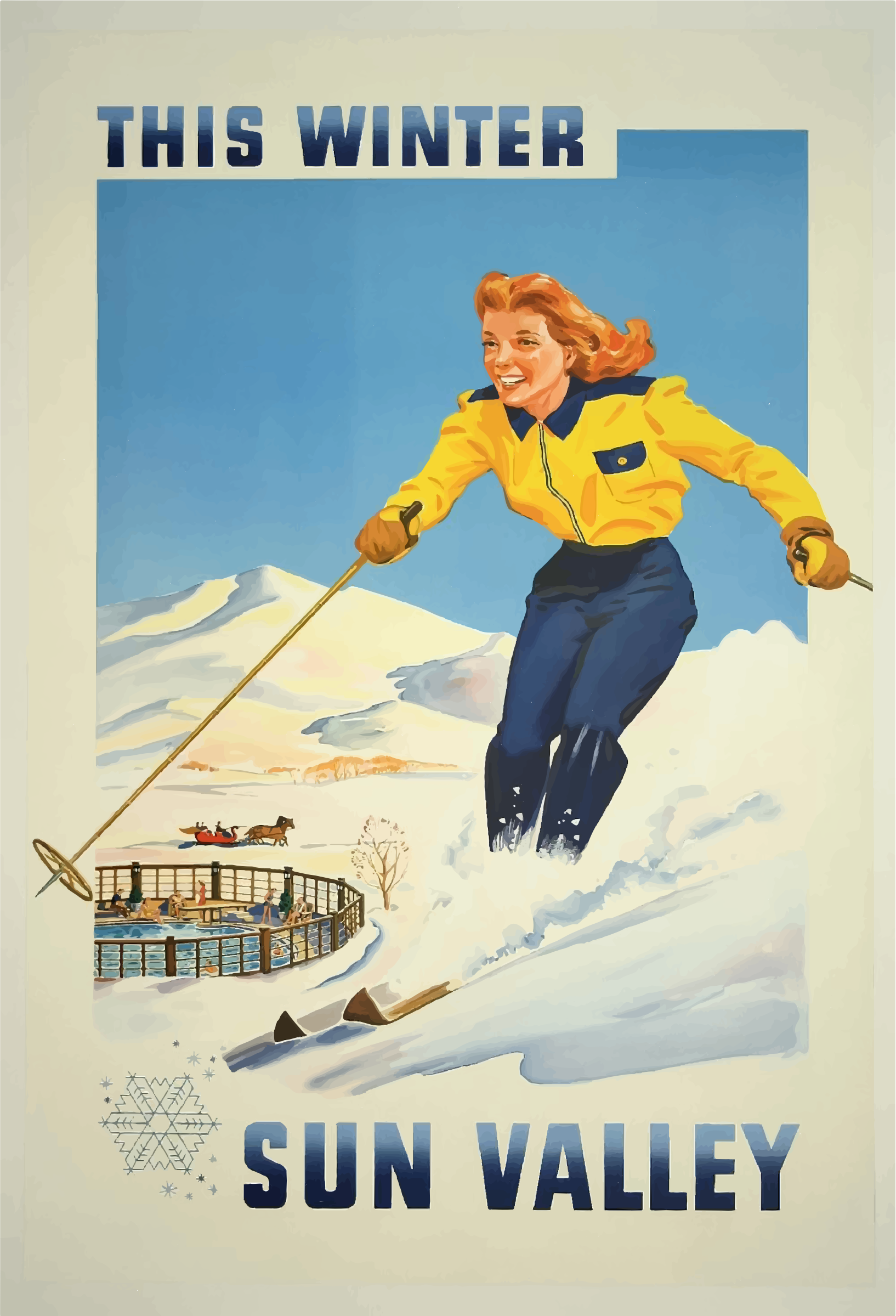 Vintage Travel Poster Sun Valley Idaho by GDJ