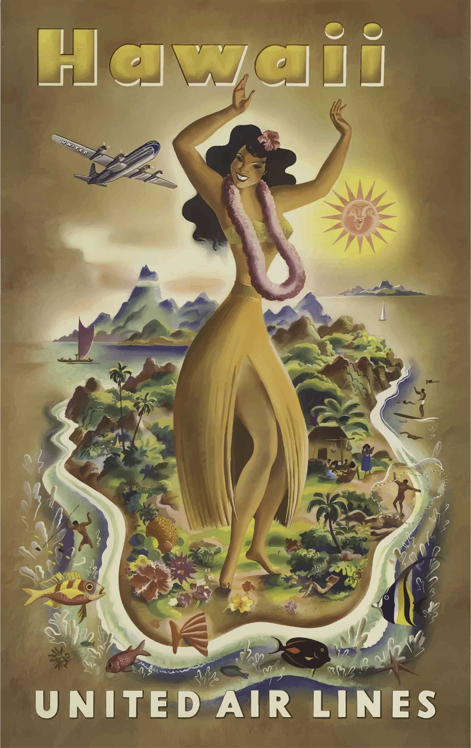 Vintage Travel Poster Hawaii 3 by GDJ