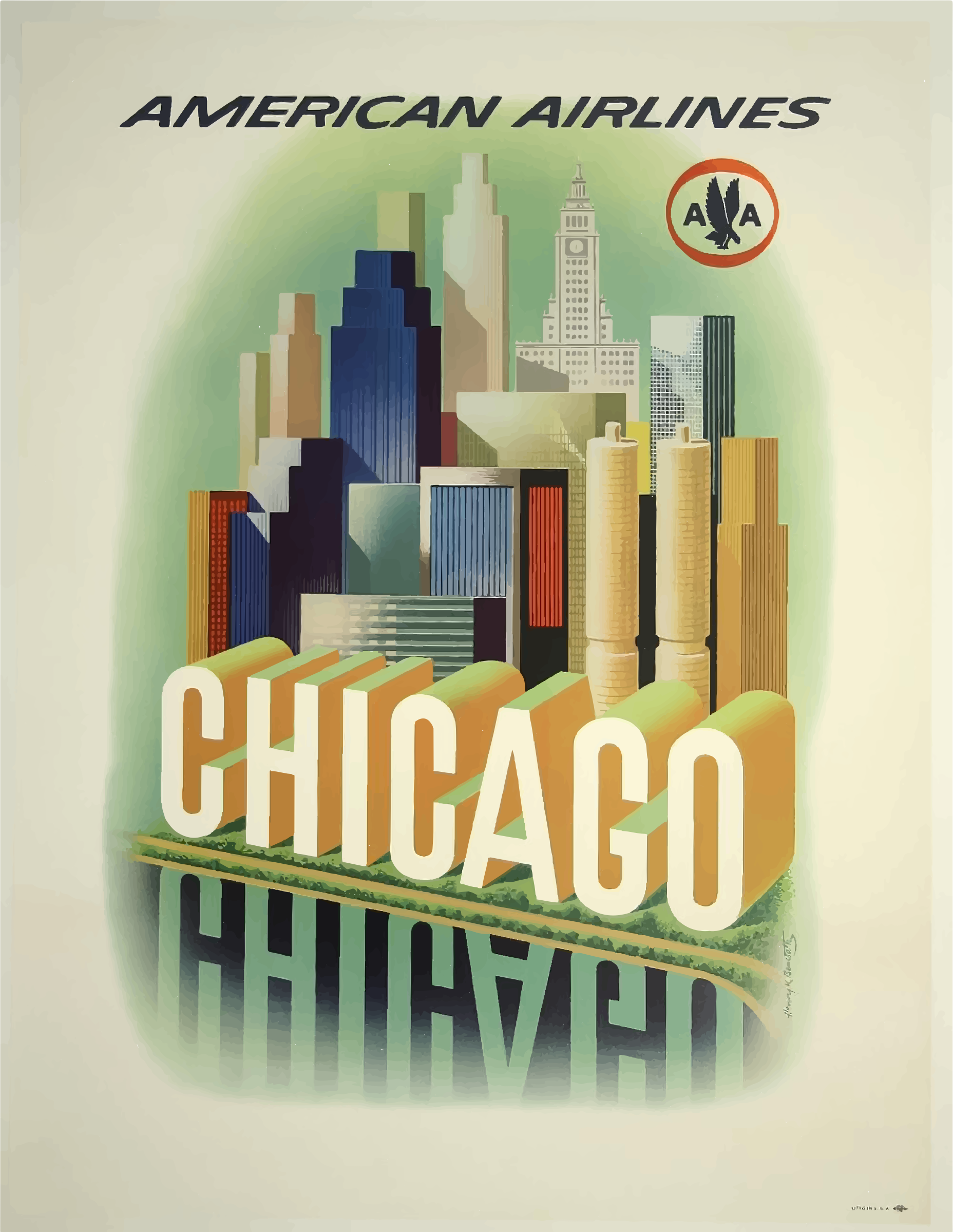 Clipart vintage travel poster chicago usa for Vintage chicago posters
