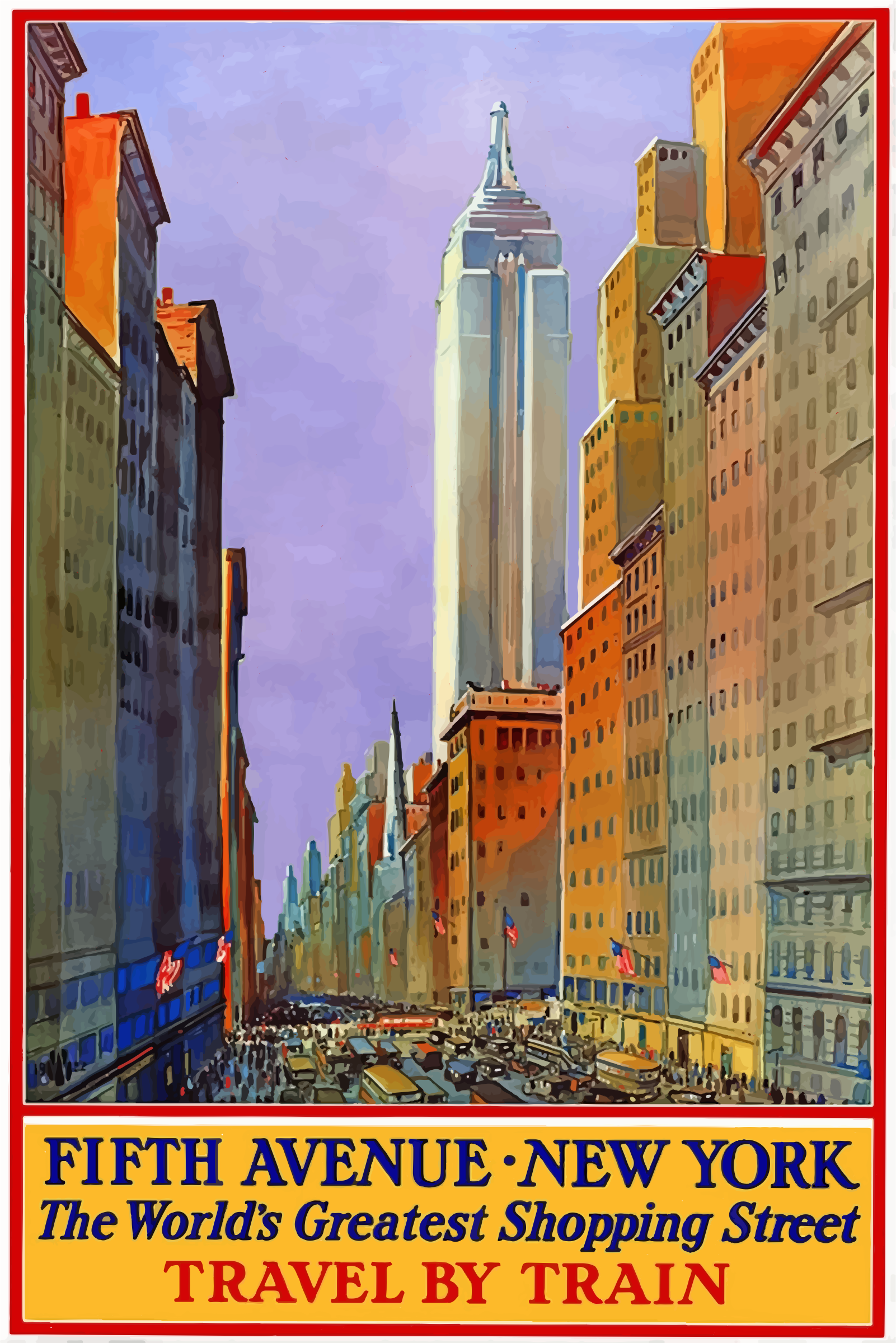 clipart vintage travel poster 5th avenue new york. Black Bedroom Furniture Sets. Home Design Ideas