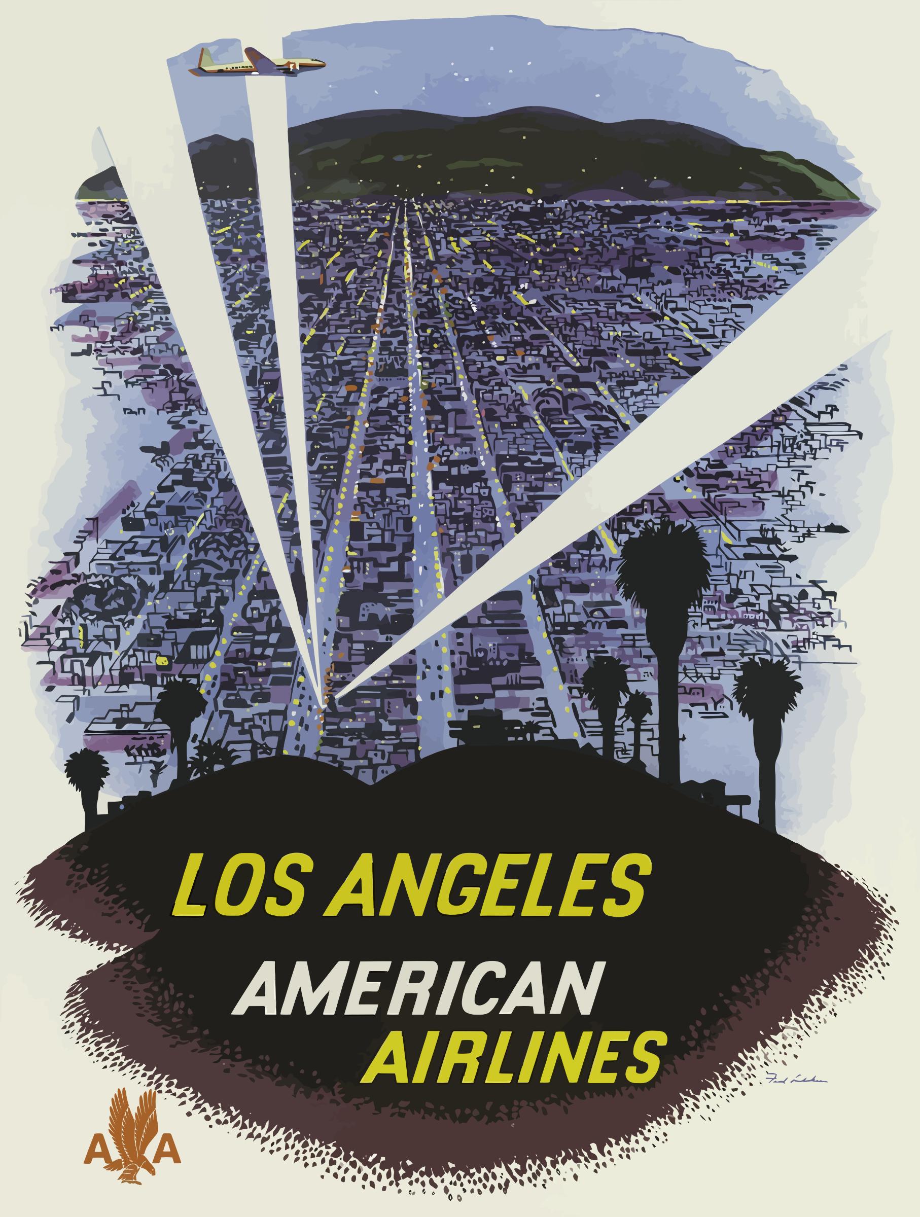 Poster design los angeles - Vintage Travel Poster Los Angeles