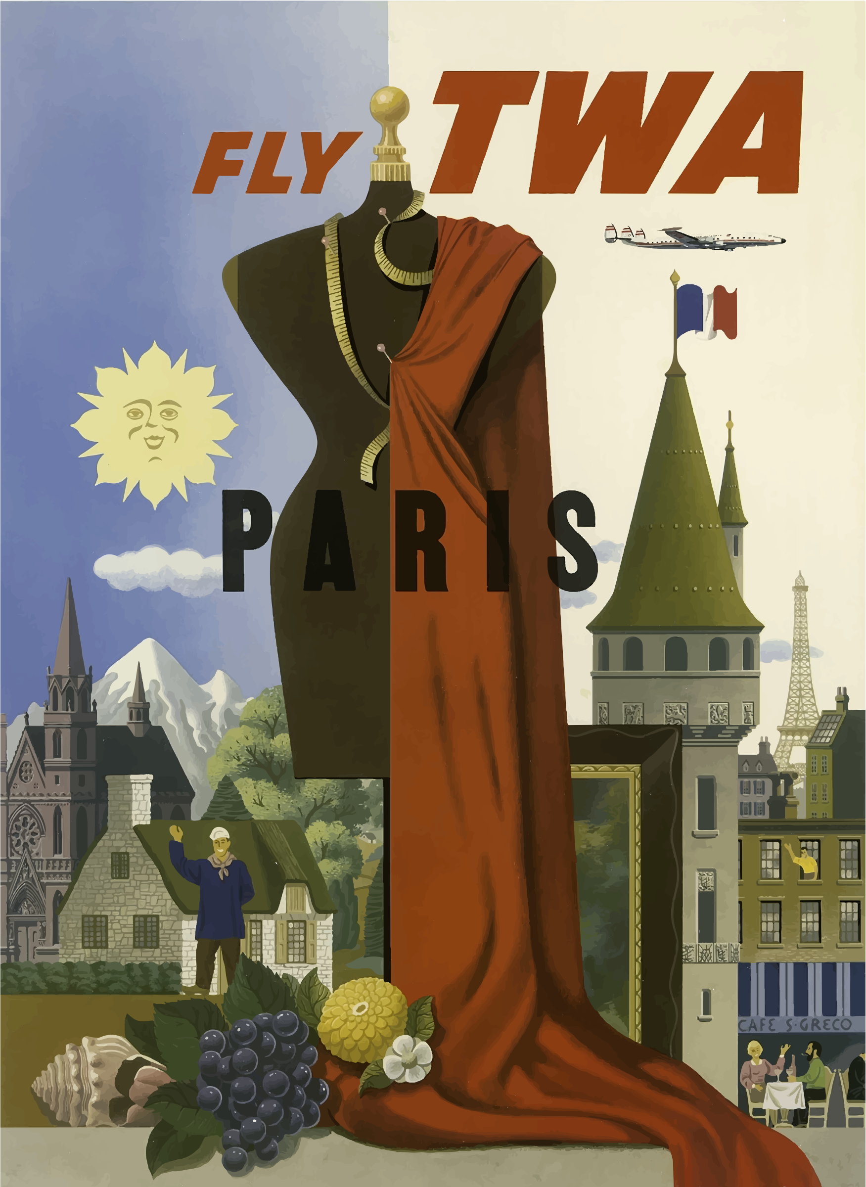 Vintage Travel Poster Paris AI by GDJ