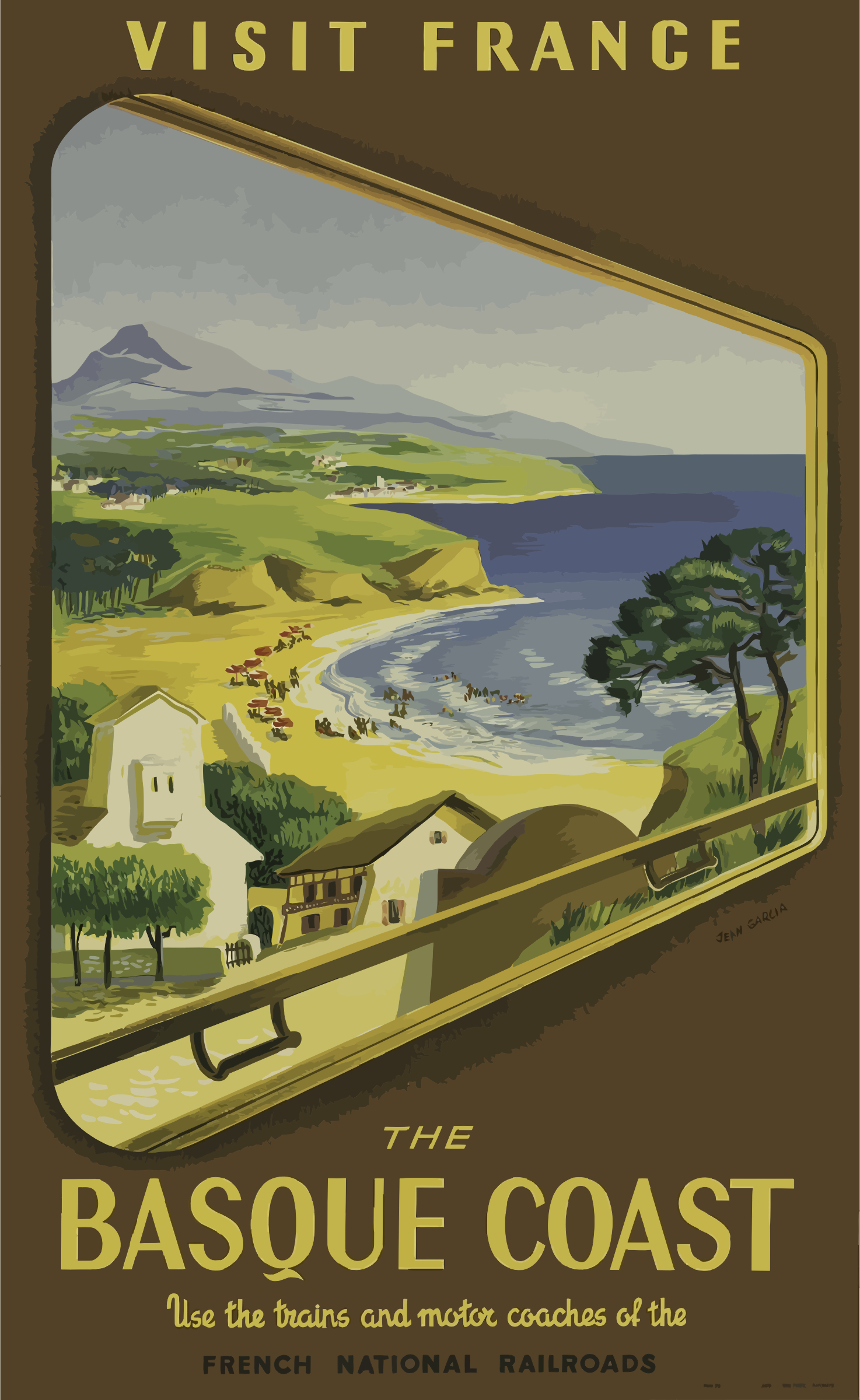 Vintage Travel Poster Basque Coast France by GDJ