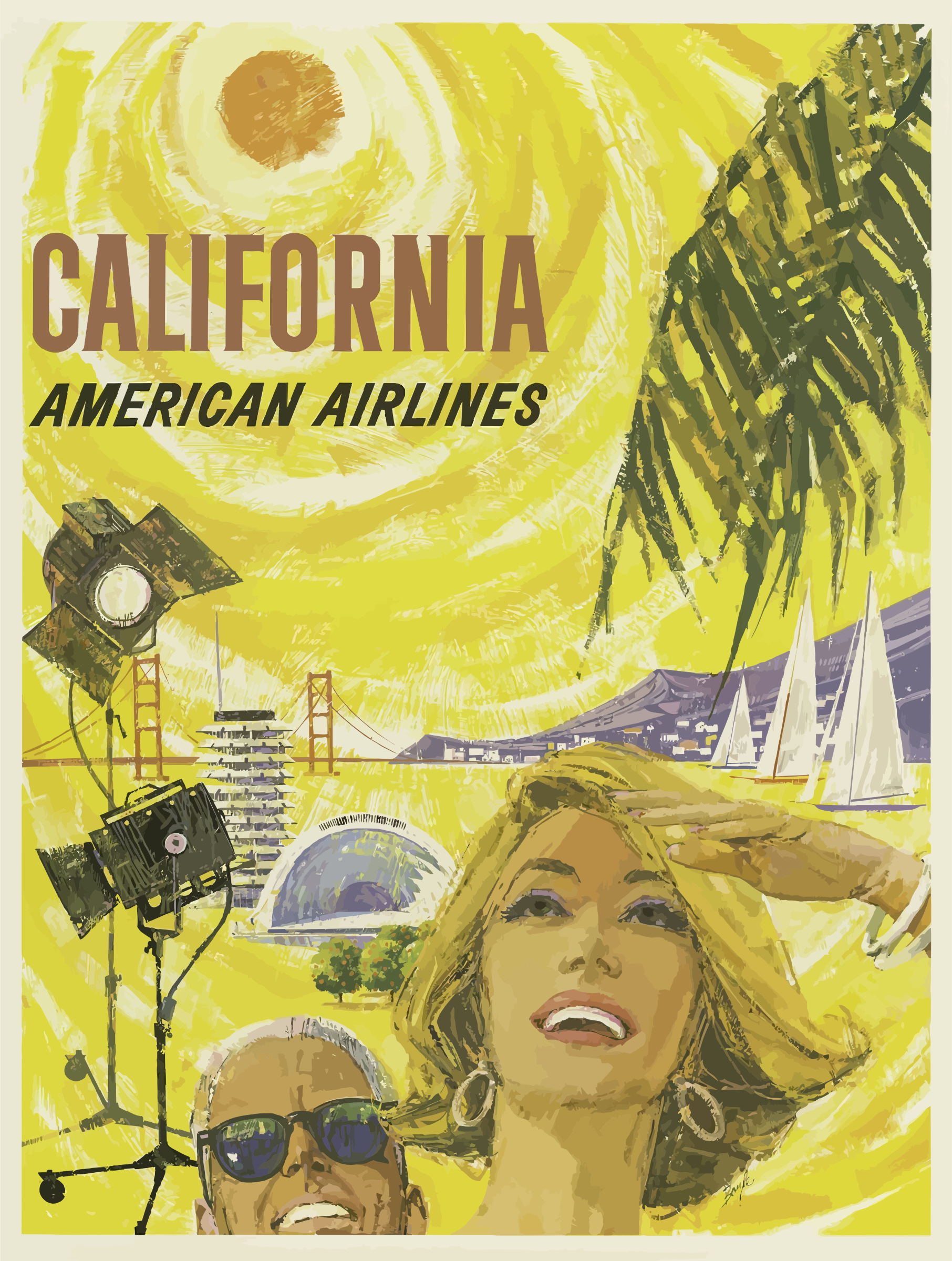 Vintage Travel Poster California by GDJ