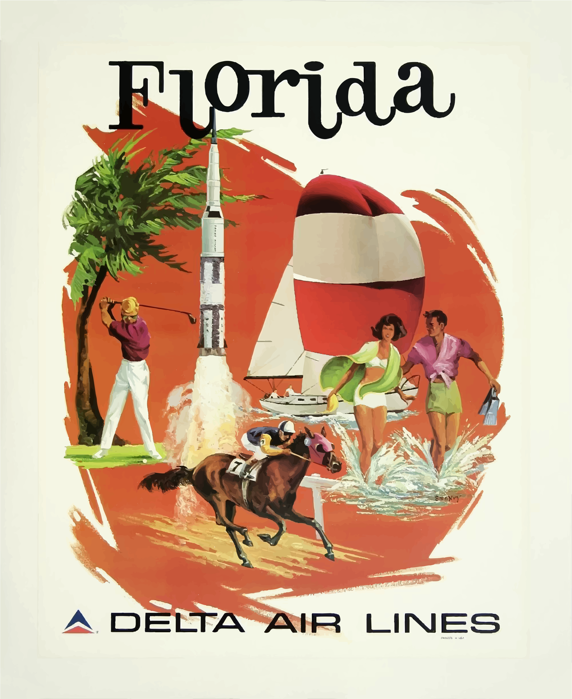 Vintage Travel Poster Florida by GDJ