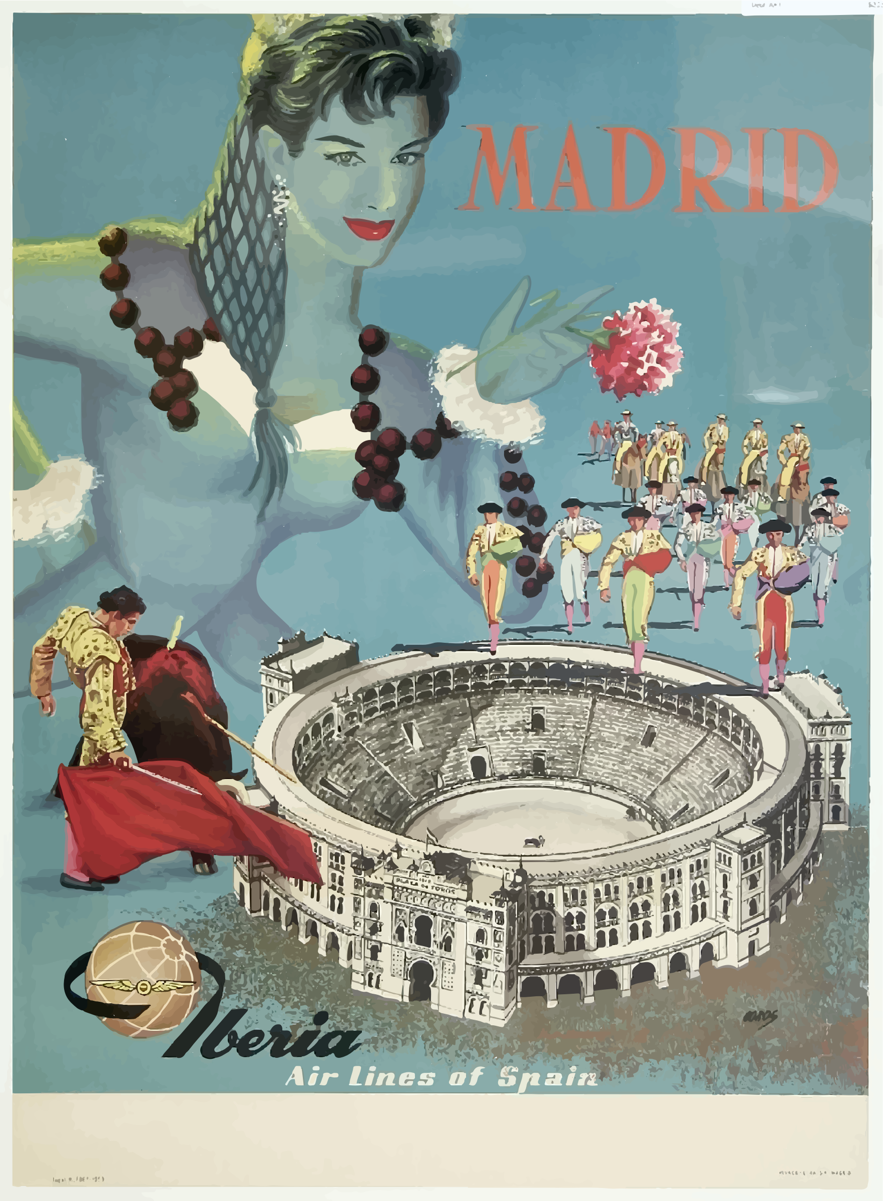Vintage Travel Poster Madrid Spain by GDJ