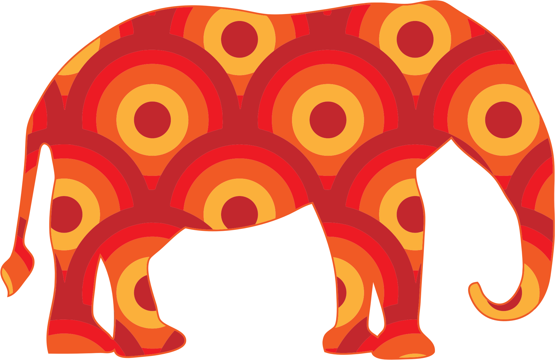 Clipart - Retro Circles Elephant
