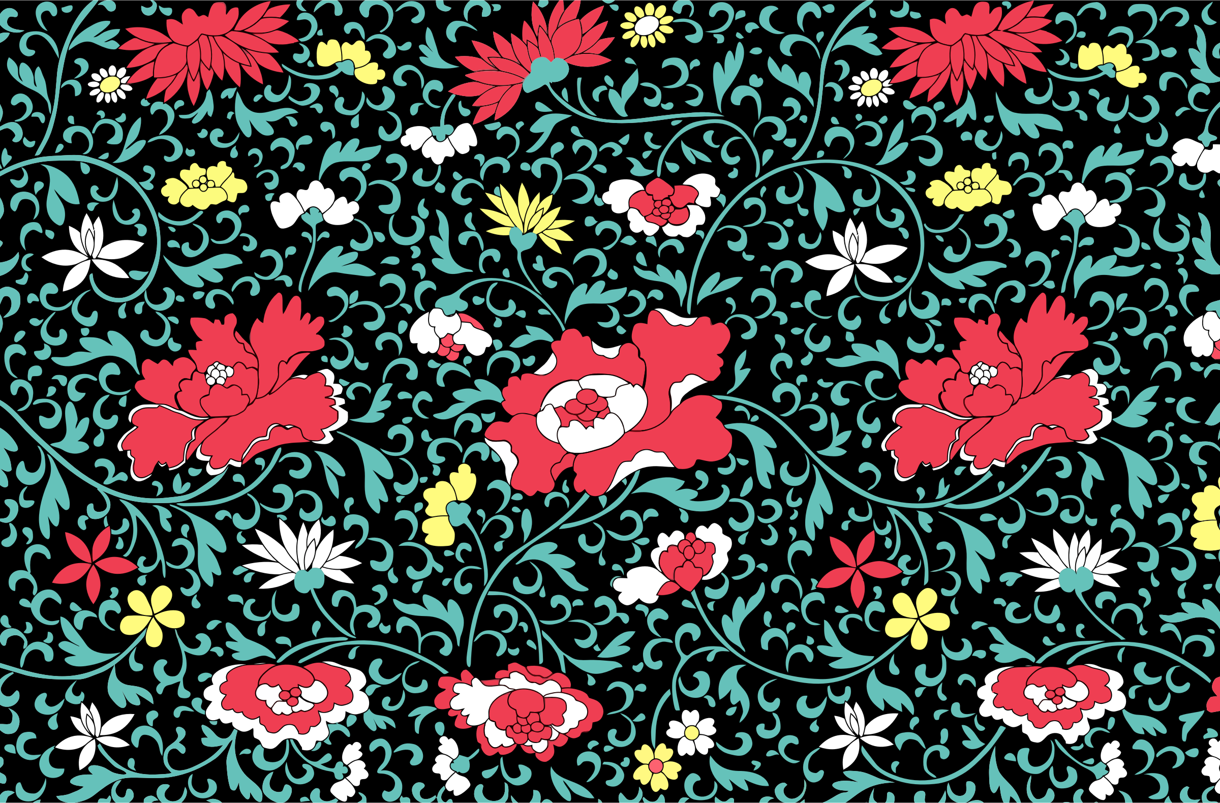 Vintage Floral Wallpaper by GDJ